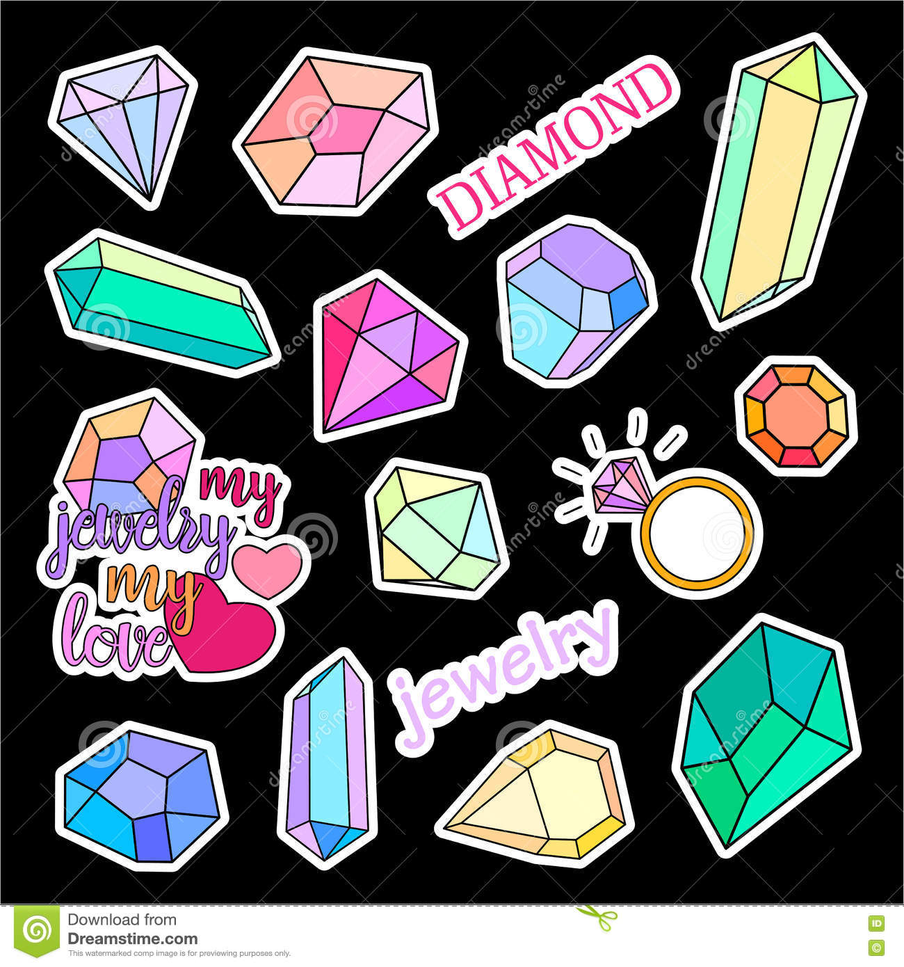fashion patch badges diamonds and jewelry set stickers pins