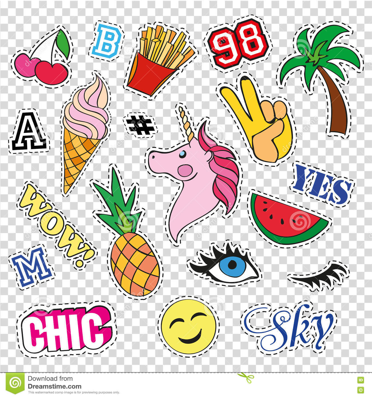 Fashion Patch Badges With Different Elements On ...