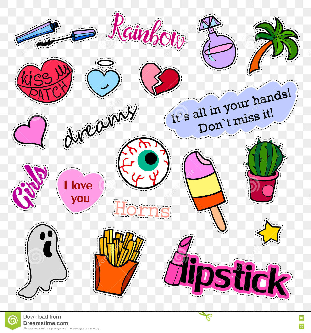 Fashion patch badges. Pop art set. Stickers, pins, patches and handwritten notes collection in cartoon 80s-90s comic