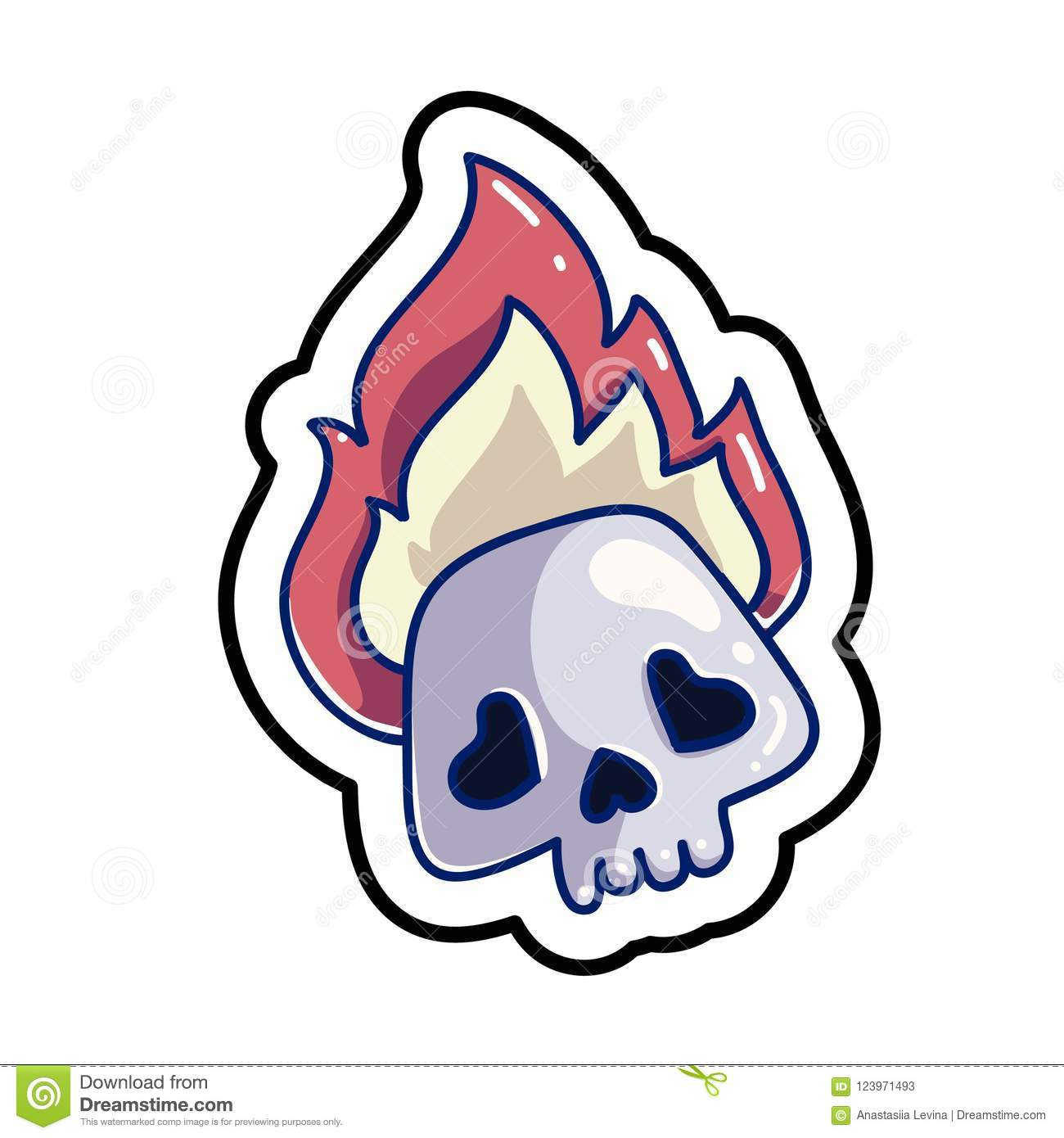 fashion patch skull badge stock vector illustration of head 123971493
