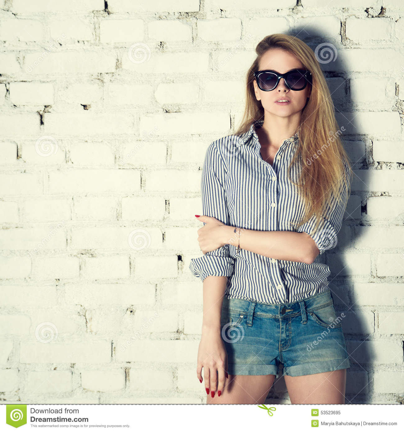 Hipster Fashion Photography: Fashion Photo Of Hipster Woman At Brick Wall Stock Photo