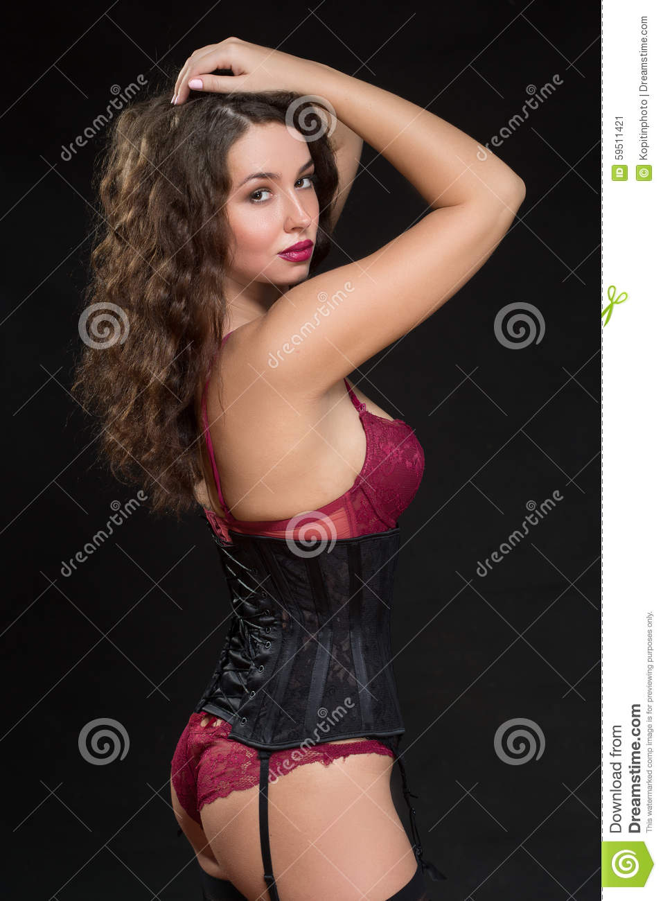 Photo Of Sexy Brunette Woman Posing In Red Lingerie And ...