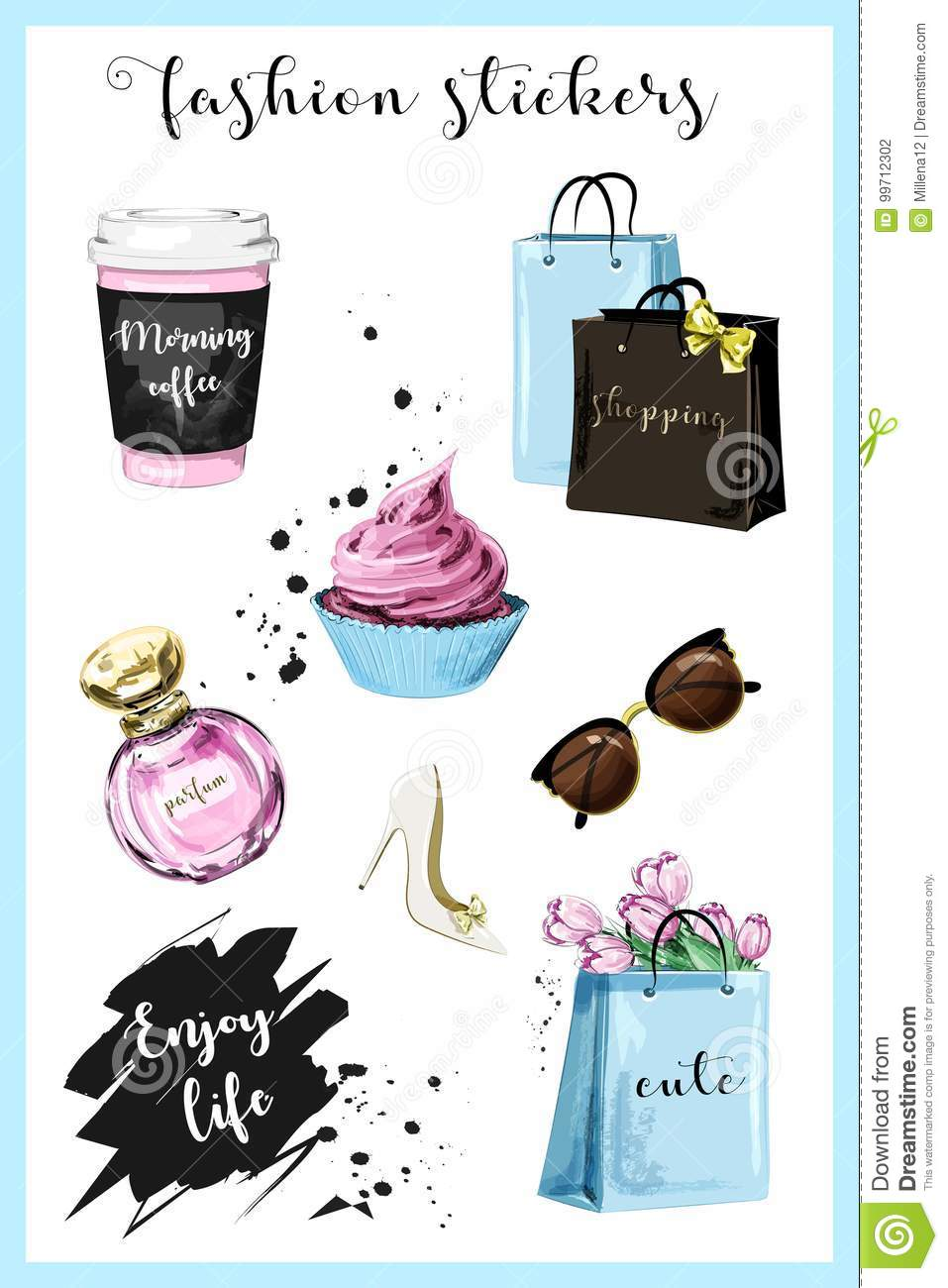 b81f6166366 Royalty-Free Vector. Fashion planner girl stickers with coffee cup,  shopping bags, perfume, shoe, sunglasses