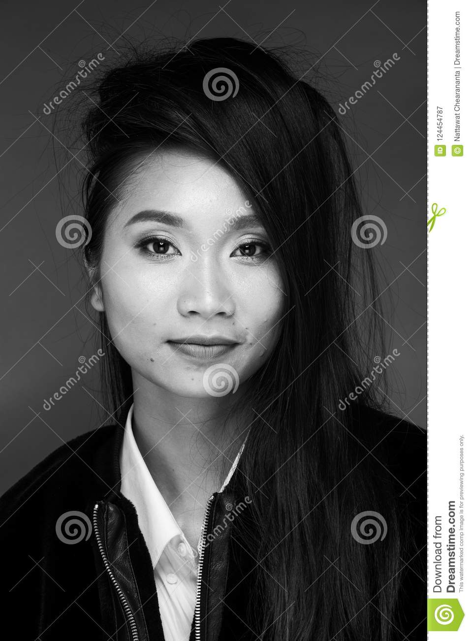 Asian Tanned Skin Woman With Strong Color Red Lips Stock Image