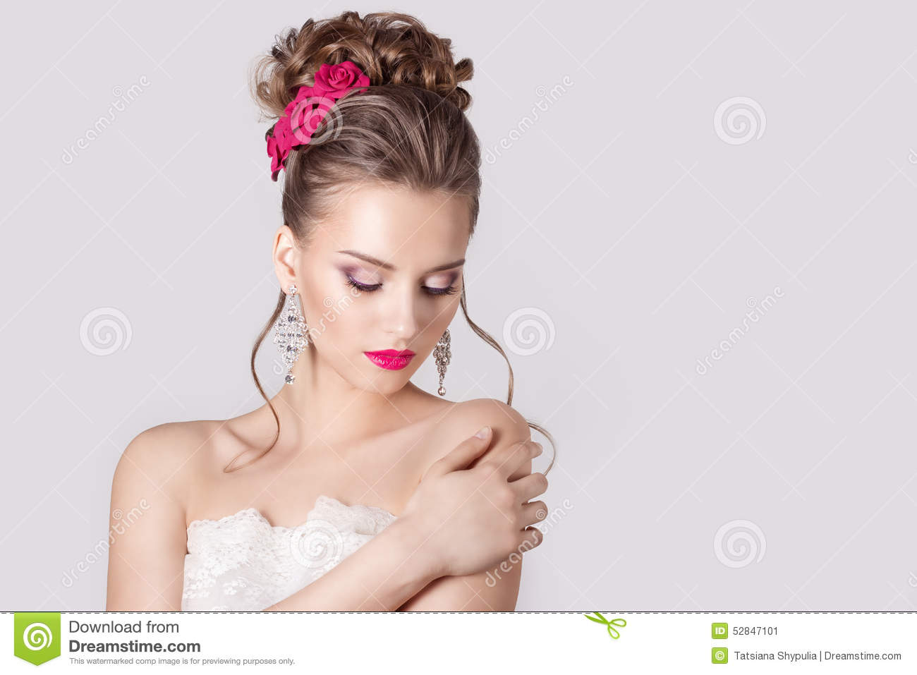 Fashion Portrait Of A Beautiful Attractive Girl With A Gentle ...