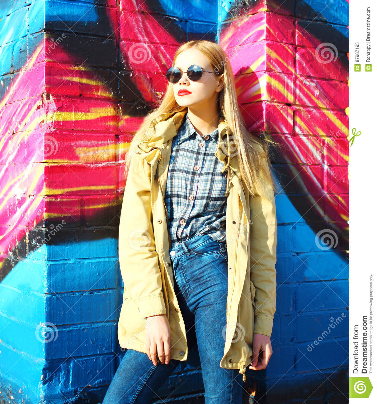 Fashion Portrait Beautiful Blonde Young Woman In City