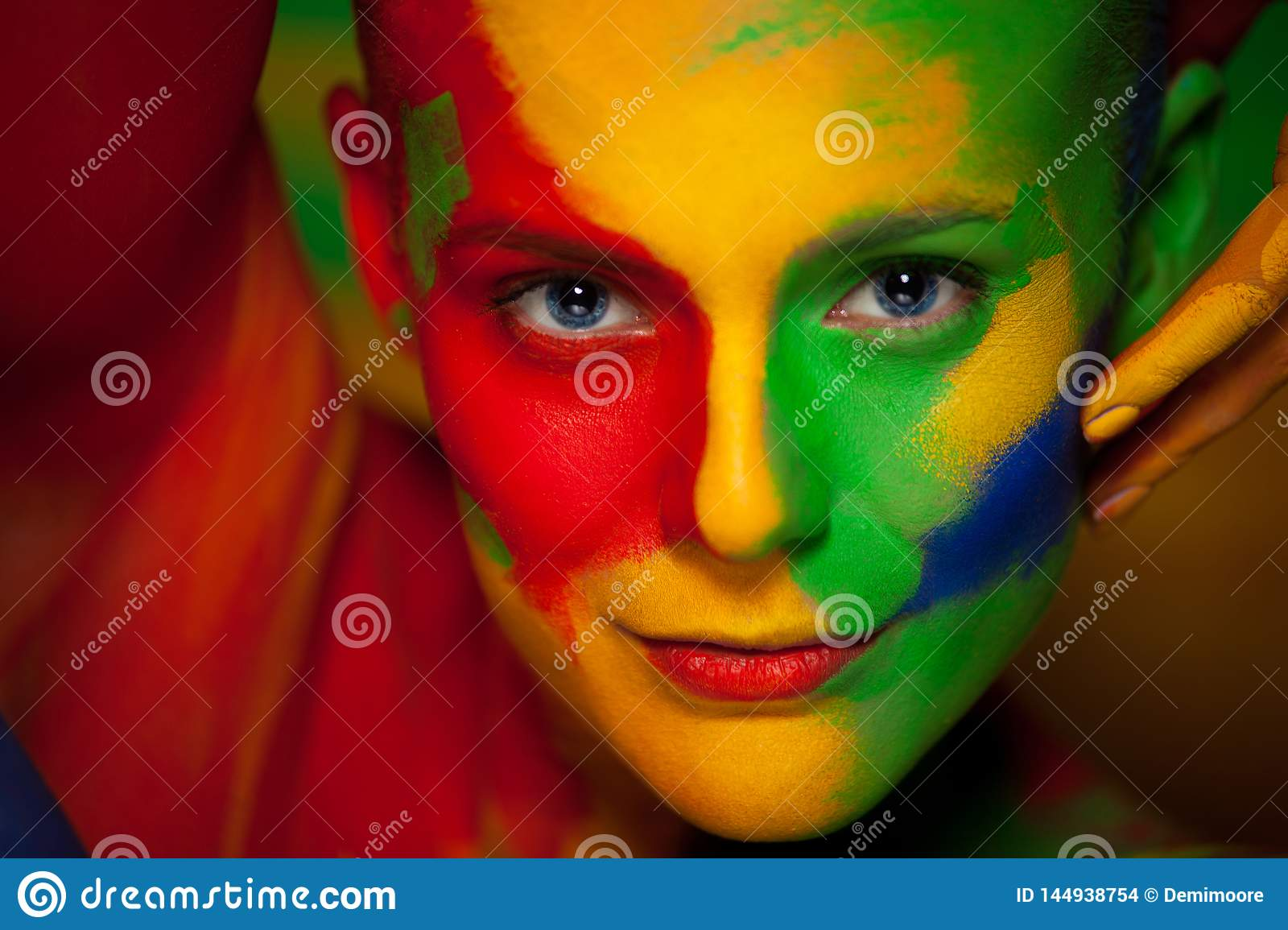 Fashion Portrait Of Beautiful Girl With Bright Colorful