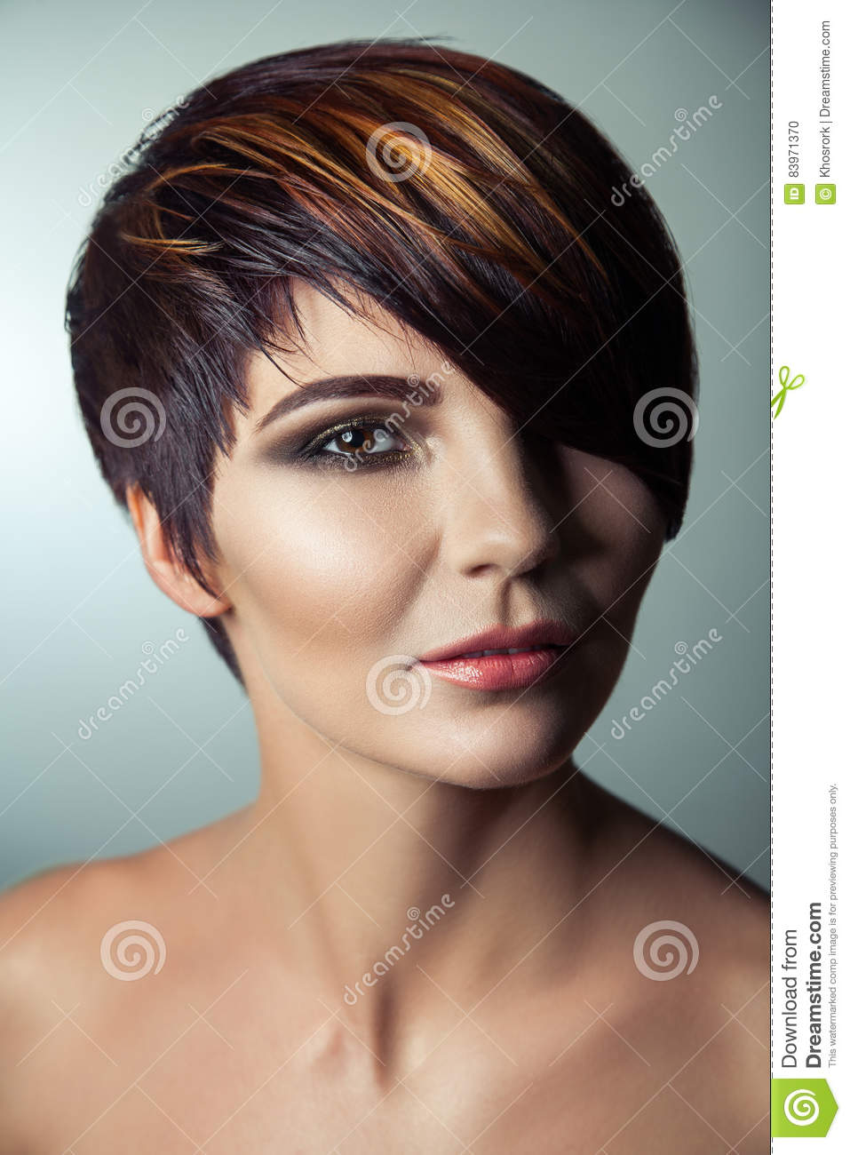 Fashion Portrait Of A Beautiful Girl With Colored Dyed Hair Professional Short Hair Coloring