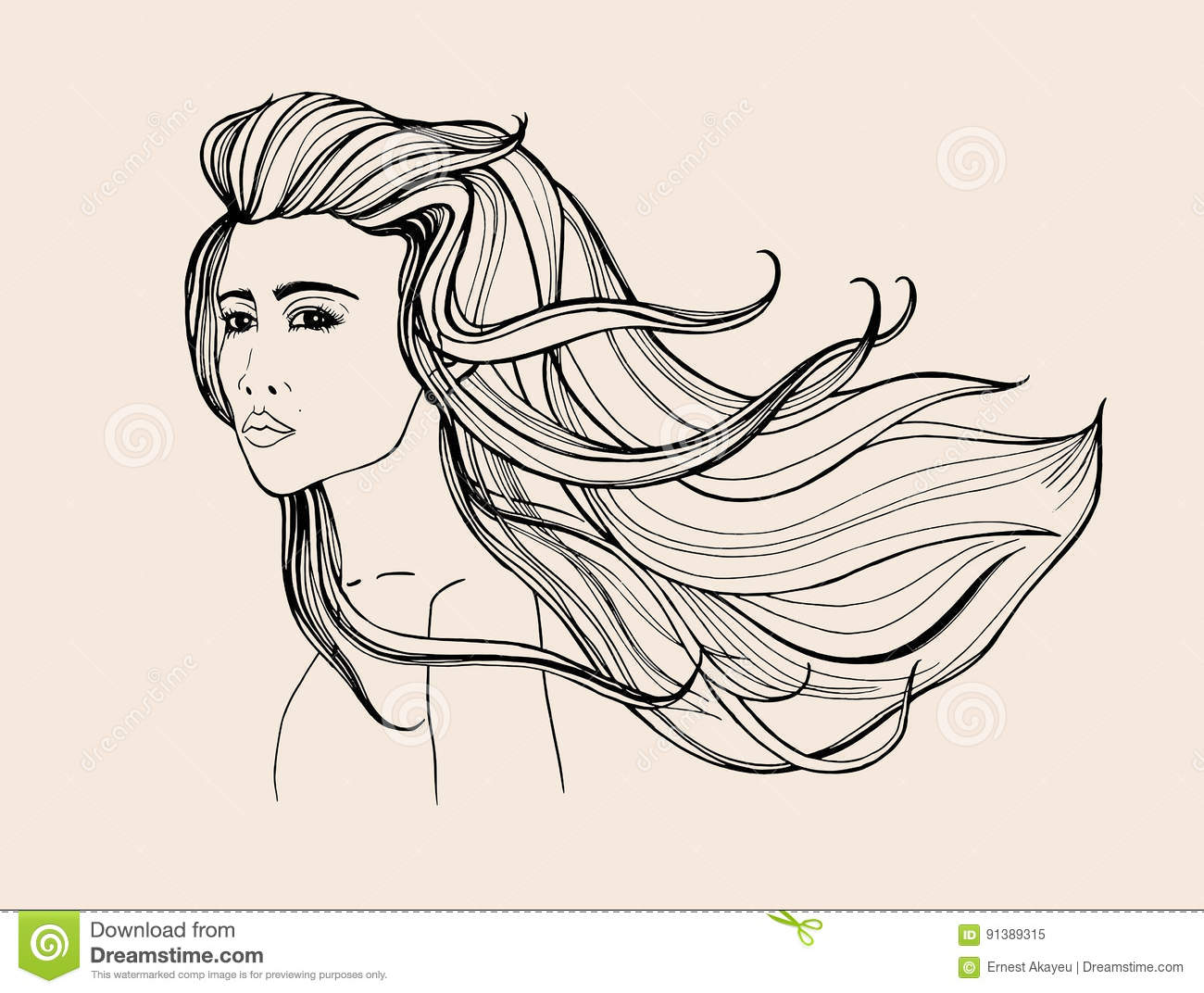 Long Hair Girl Profile Outline Monochrome Drawing Cartoon