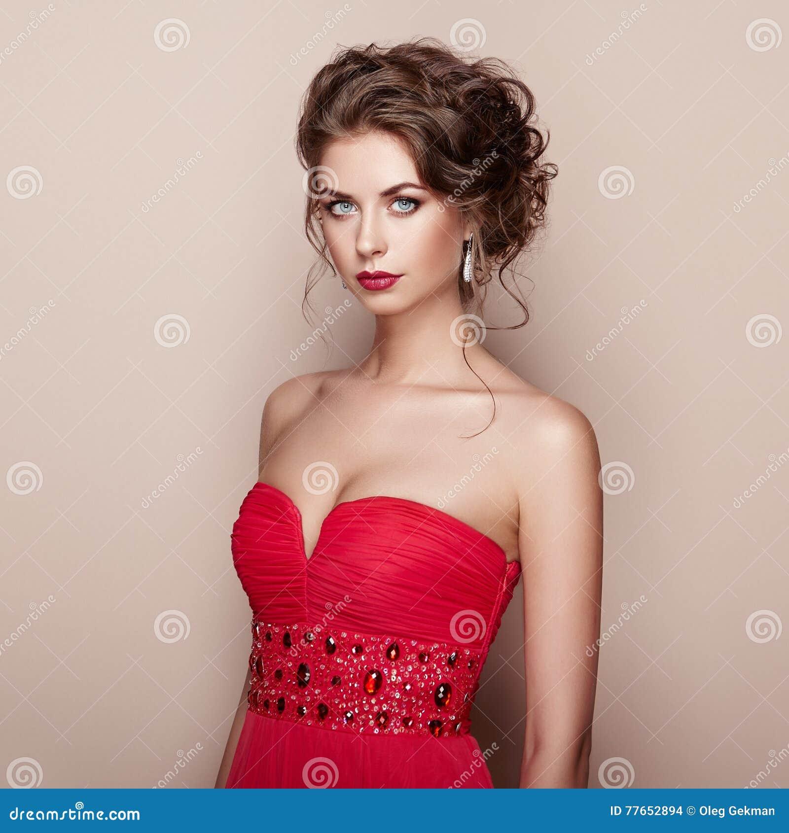 Classy And Glamorous Photo: Fashion Portrait Of Beautiful Woman In Elegant Dress Stock
