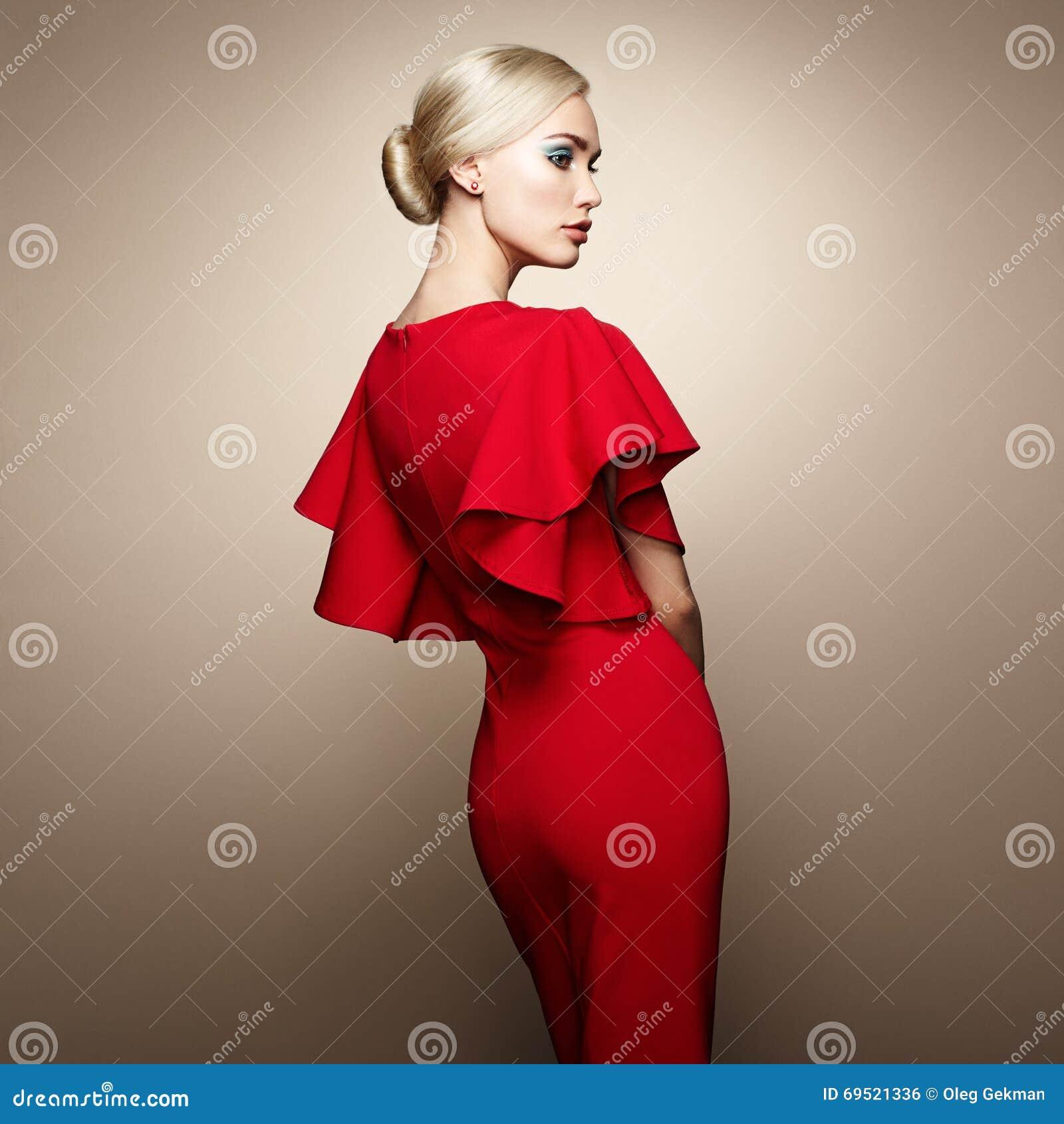 Red dress elegant girls
