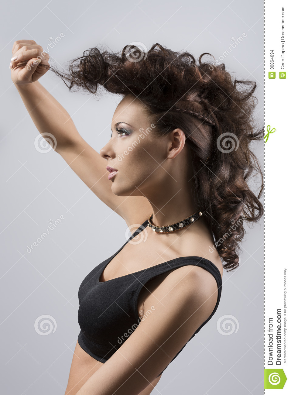 Fashion Portrait Of Girl In Profile Stock Photo Image Of Hair