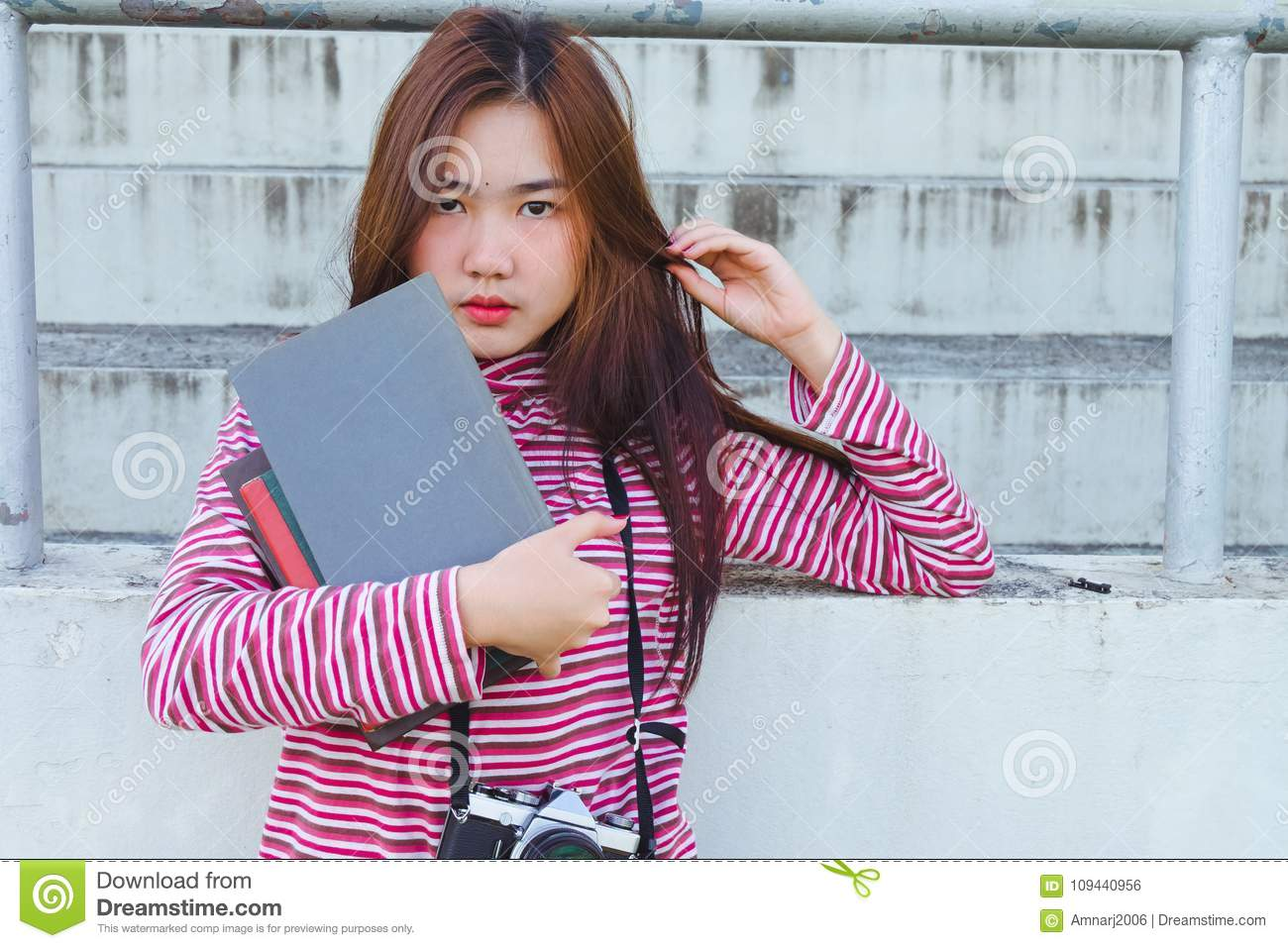 f13c5e142ea9 Fashion Portrait Of Hipster Teen Girl With Text Book Stock Photo ...