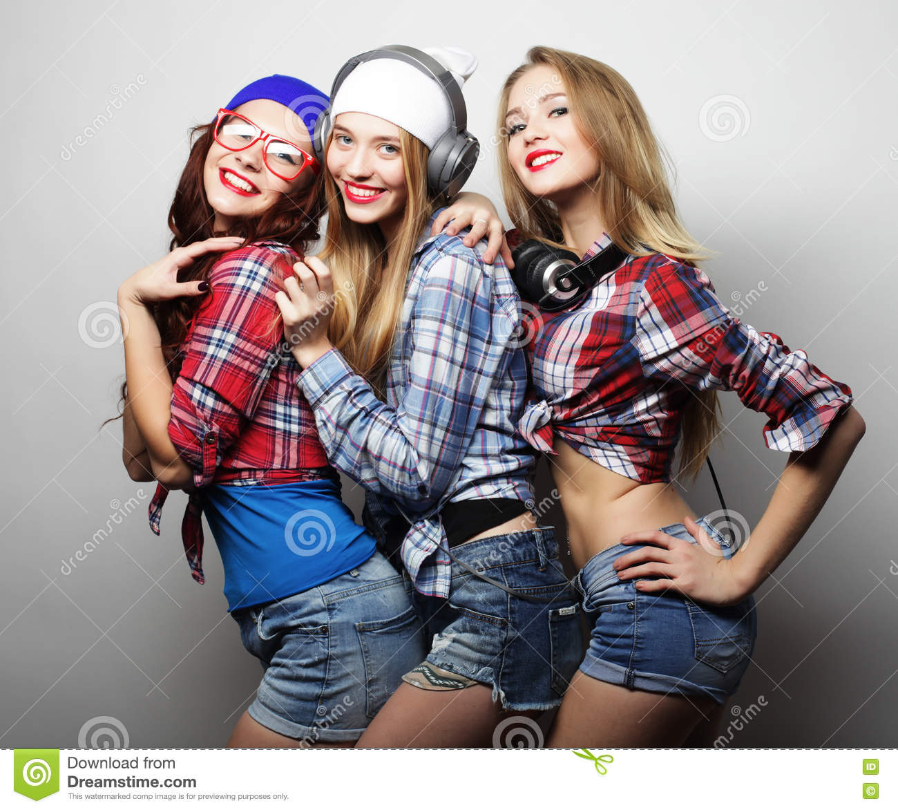 Hipster Fashion Photography: Fashion Portrait Of Three Stylish Hipster Girls Best