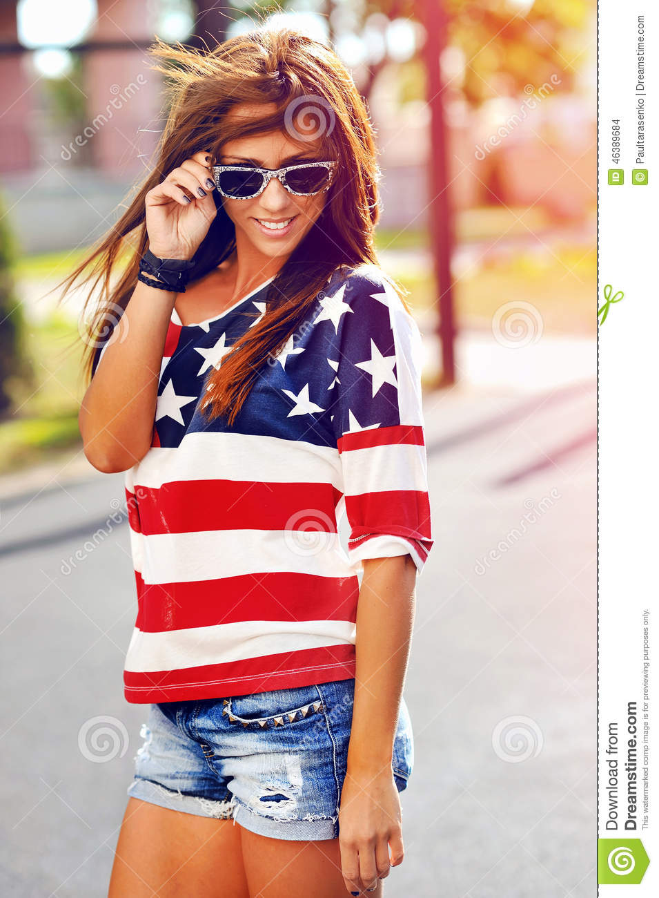 Fashion Portrait Of Young Hipster Woman Wearing Sunglasses At Su Stock Photo Image 46389684