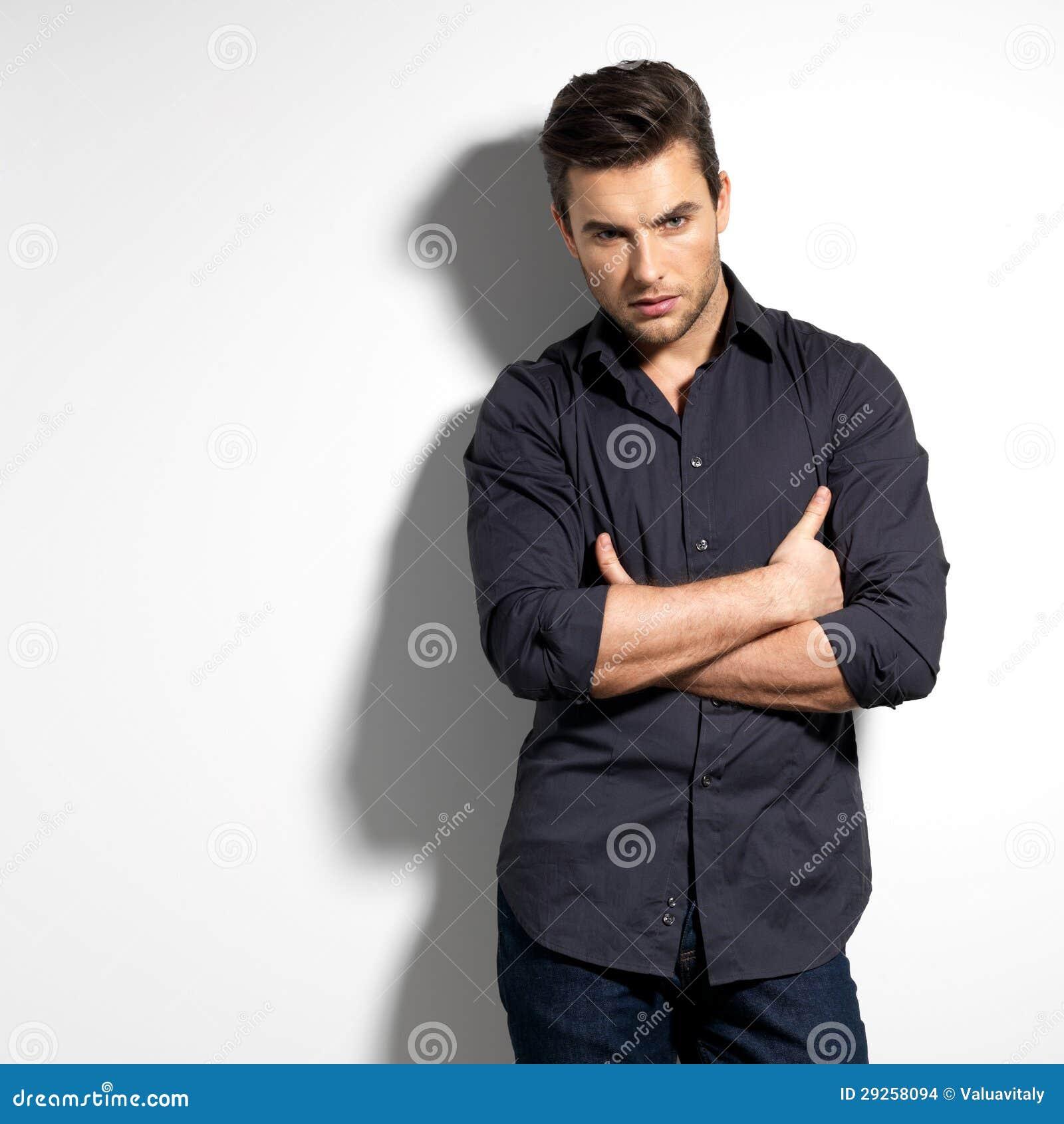 Fashion Portrait Young Man Black Shirt Stock Photos, Images ...