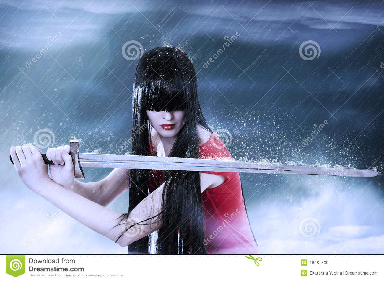 Fashion portrait of young pretty woman fighter