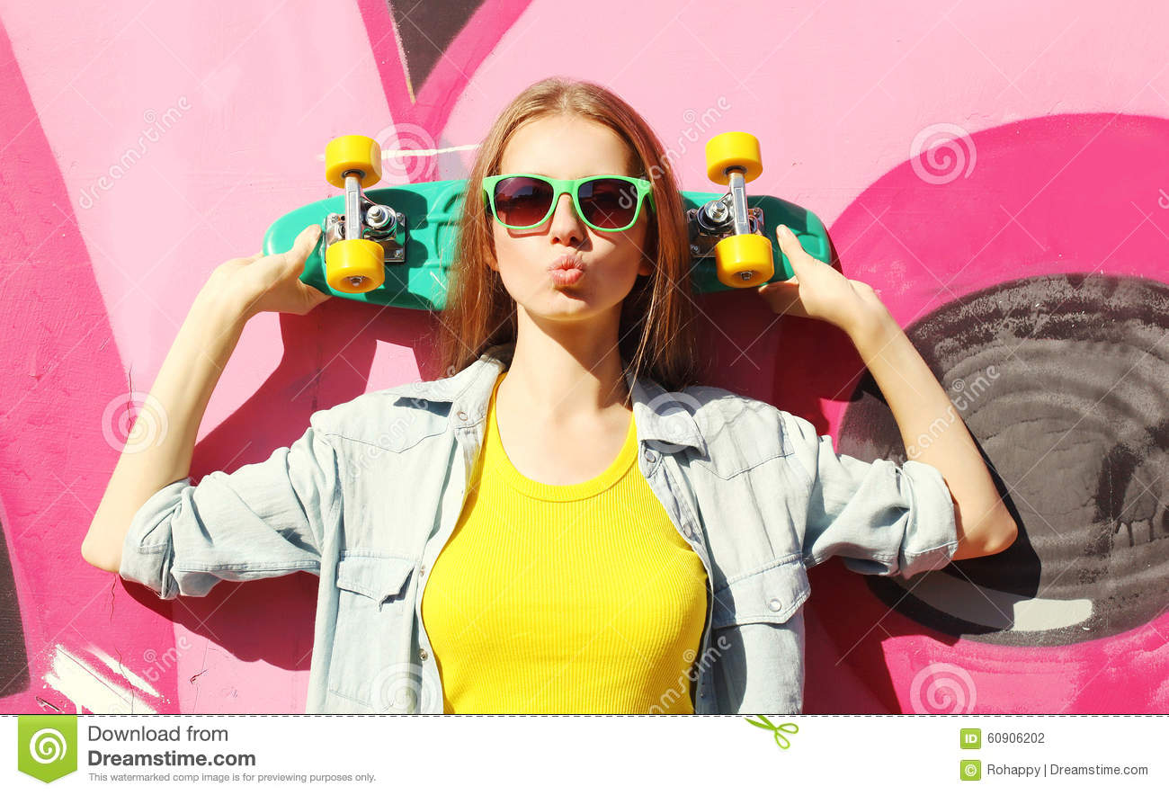 Download Fashion Pretty Cool Girl Wearing A Sunglasses And Skateboard Stock Photo - Image of longboard, modern: 60906202