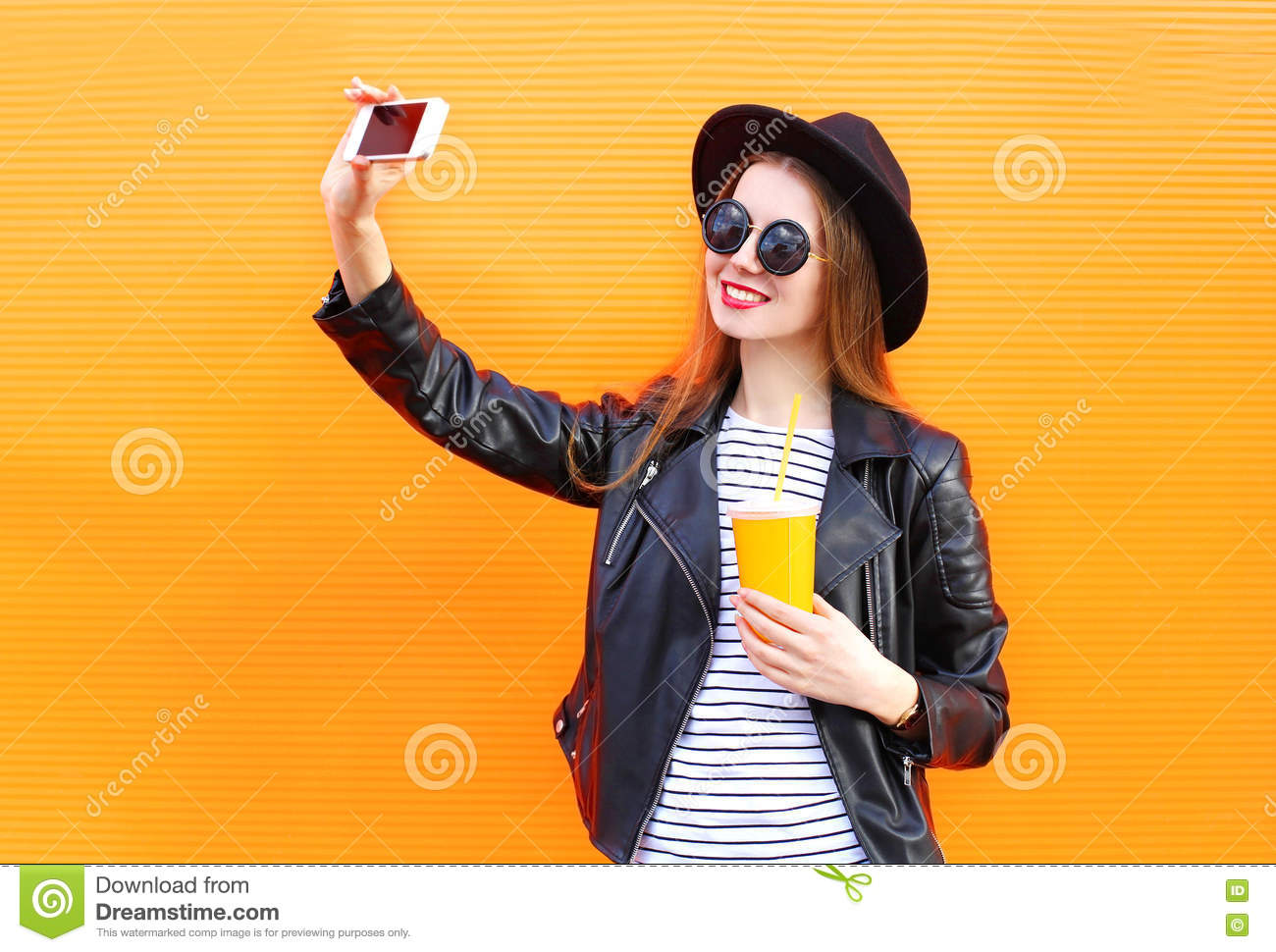 Fashion Pretty Smiling Woman Makes Self Portrait On