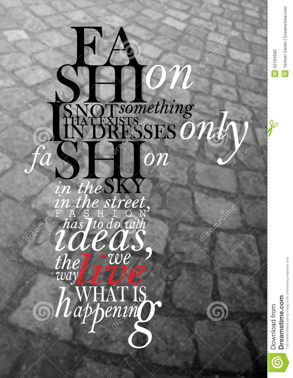 Fashion Quote Stock Photo Image 52184580