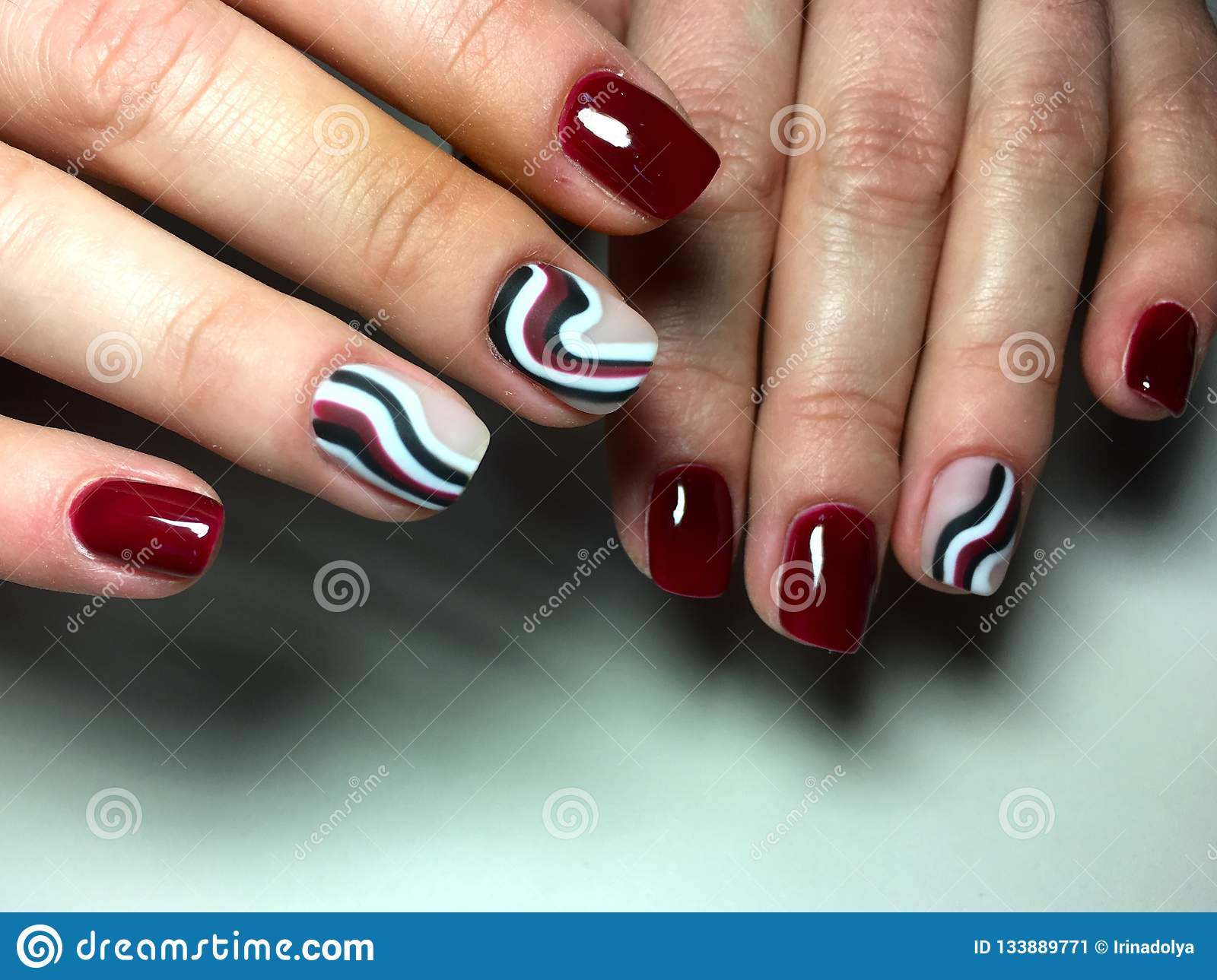 Fashion Red Manicure With Color Design Stock Image - Image of grey ...