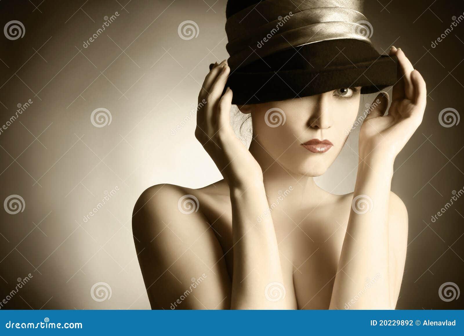 Fashion retro woman elegant hat.