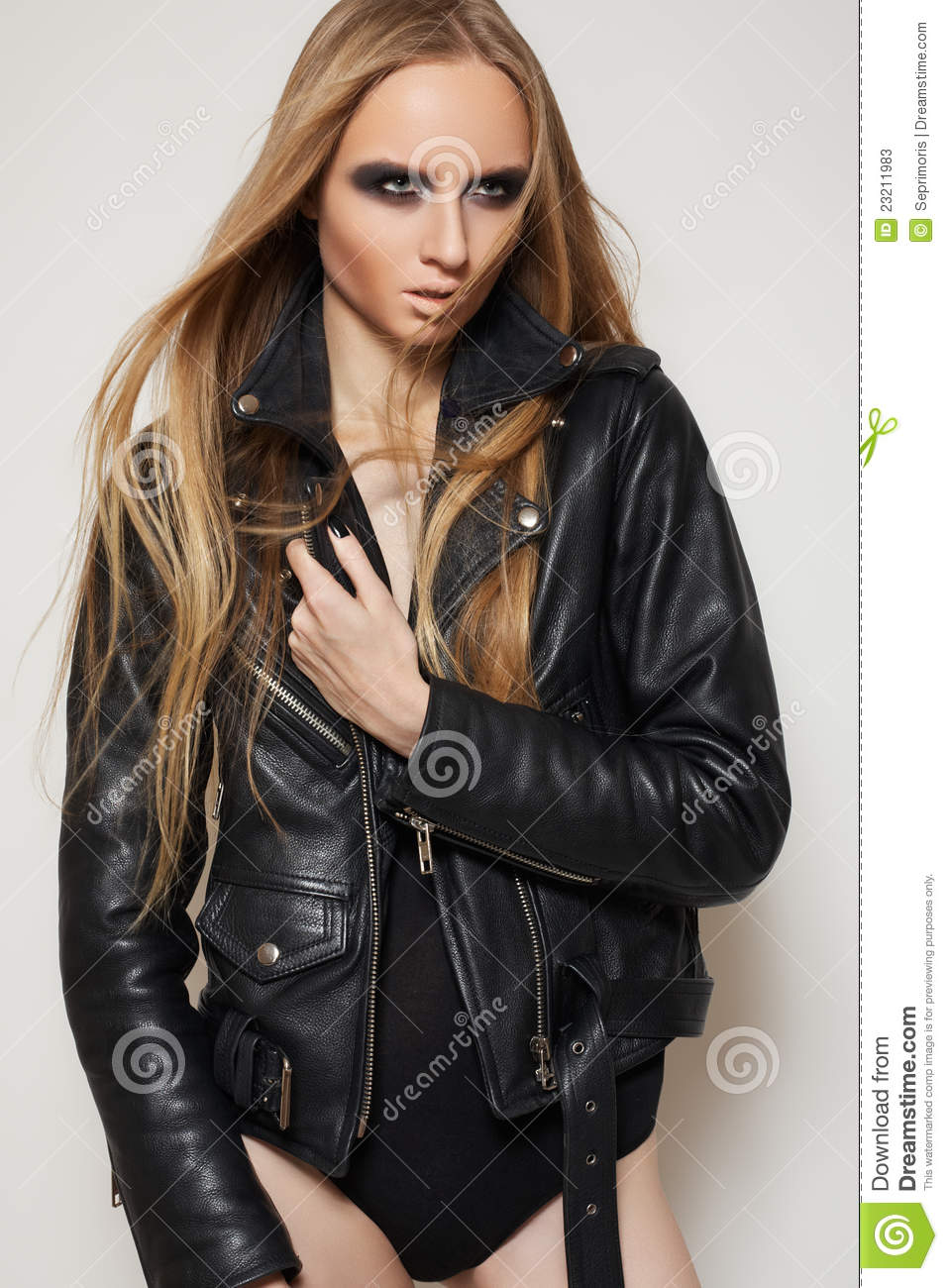 Fashion Rock Woman In Black Leather Jacket & Body Stock ...