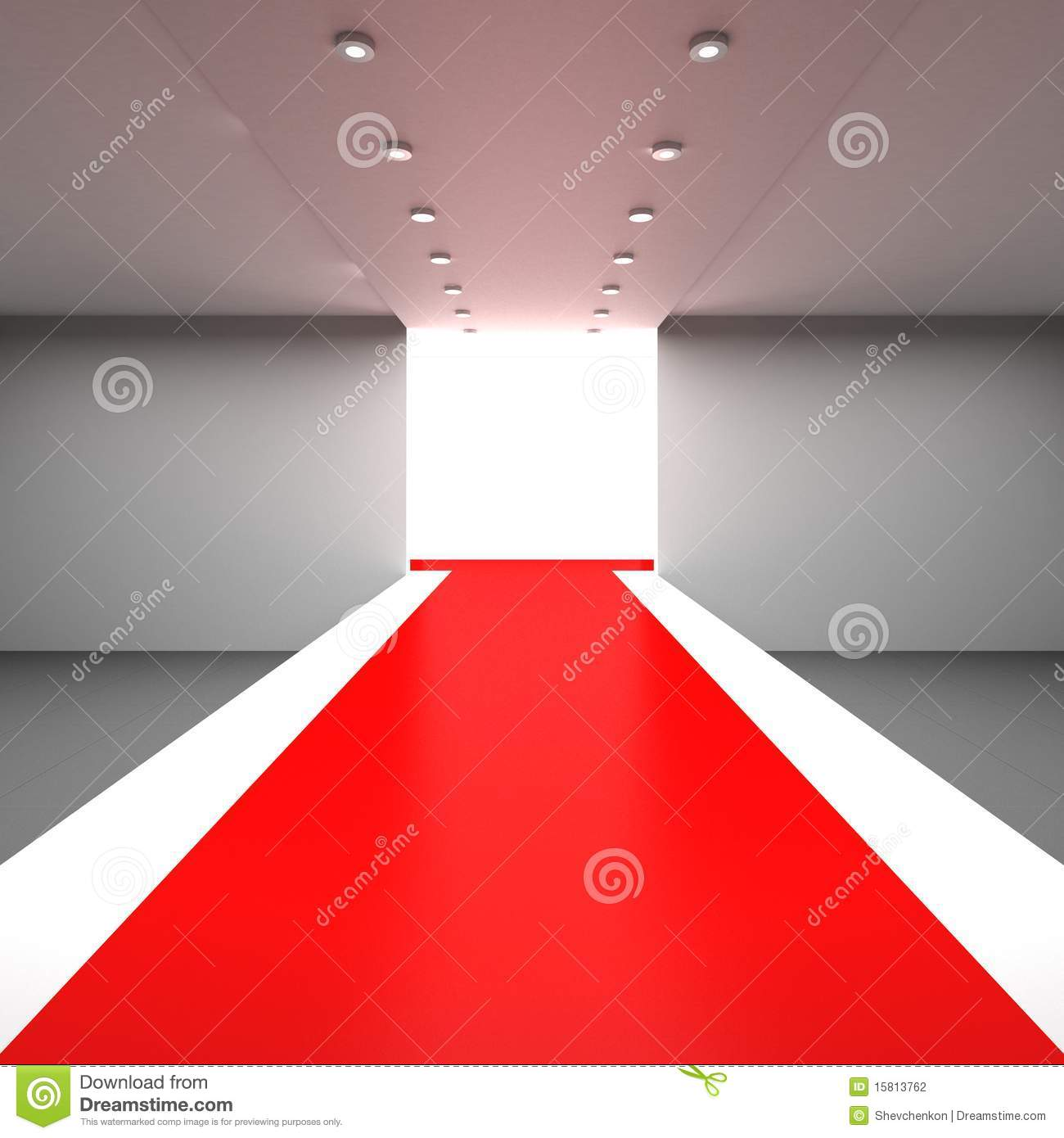 Fashion Runway Empty Hall With A Podium For Display Stock Photography