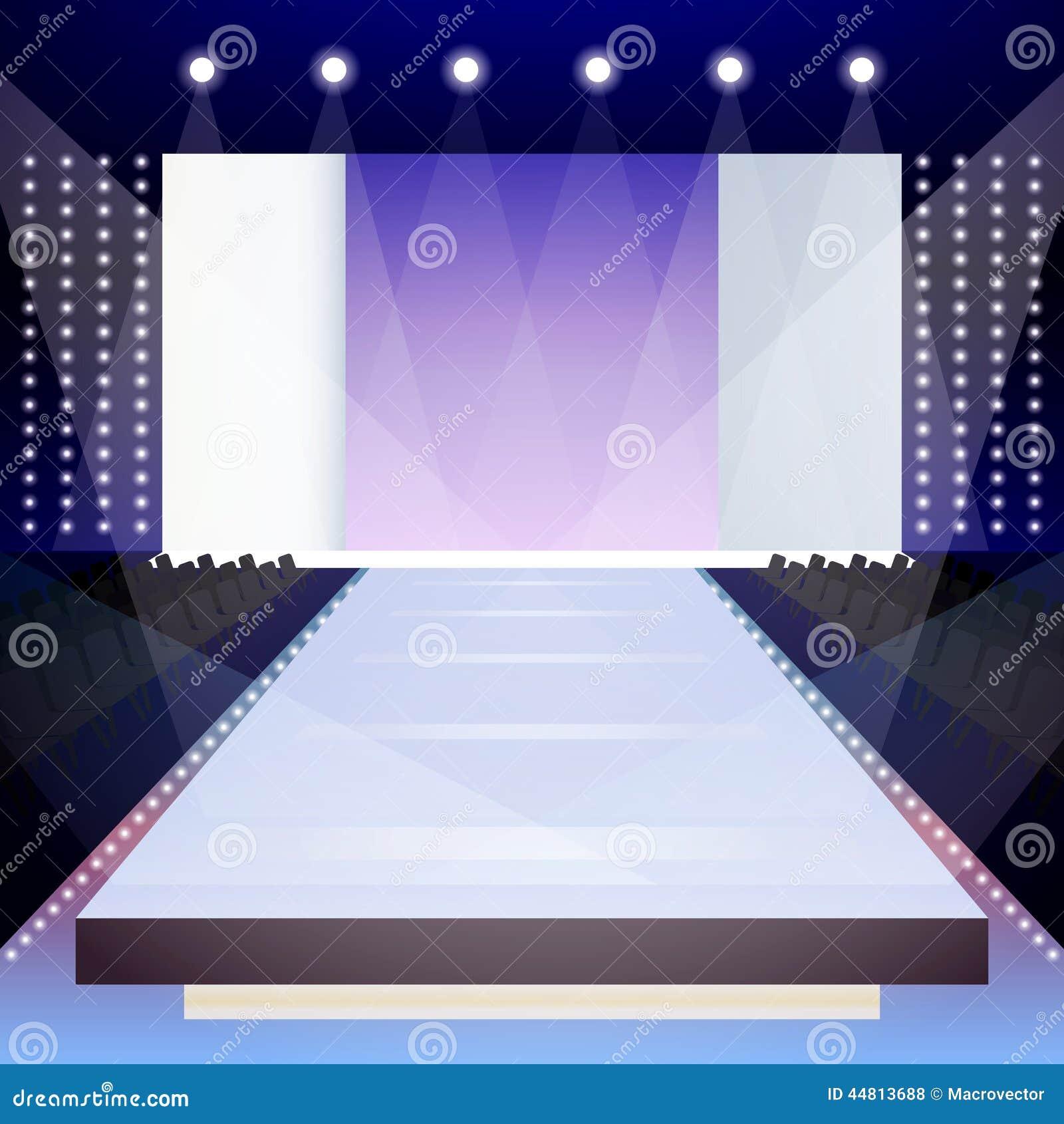 Fashion Runway Poster Empty Illuminated Scene Designer Presentation Vector Illustration Royalty Free