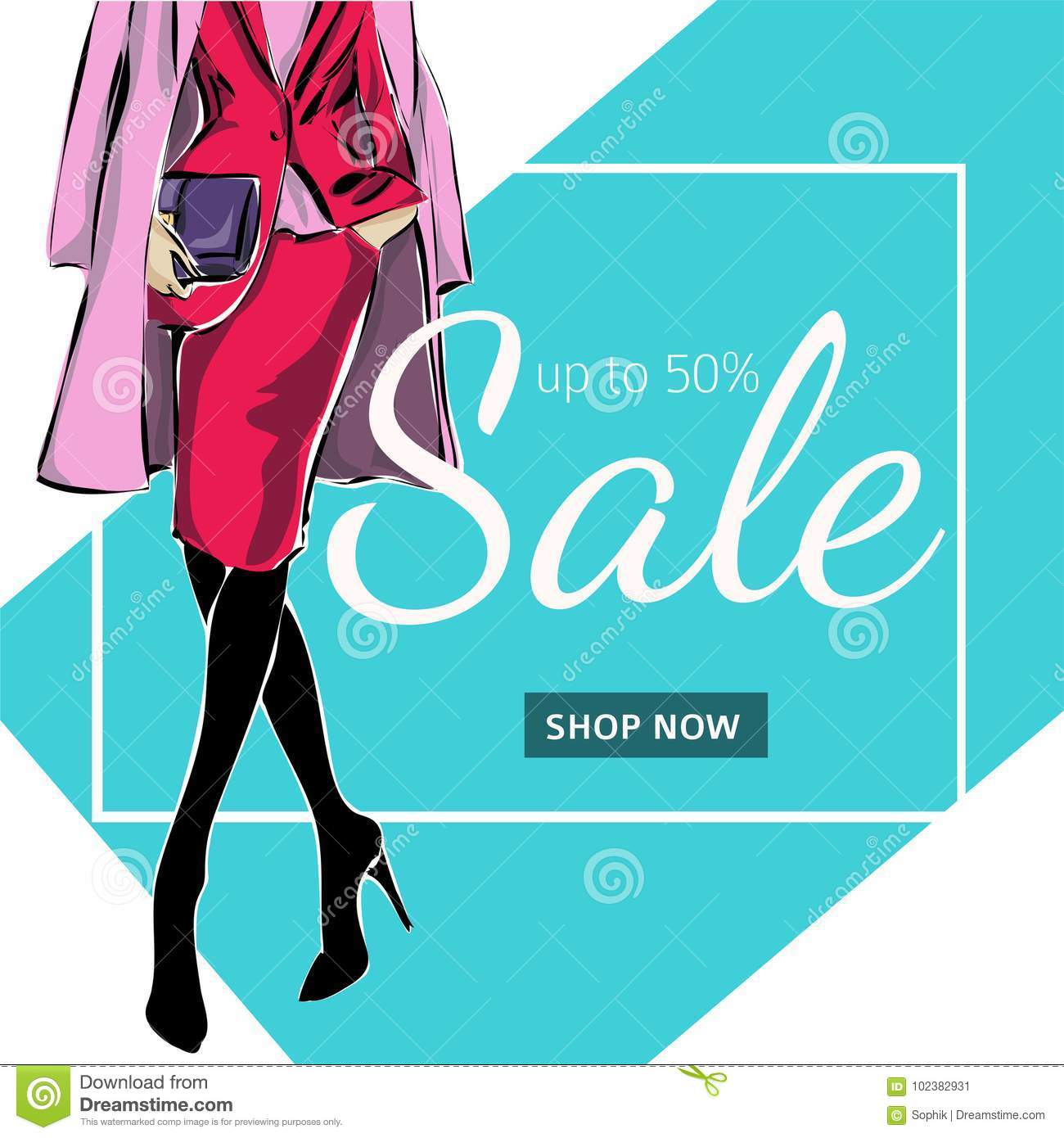 58ad0270ad6382 Fashion Sale Banner With Woman Fashion Silhouette