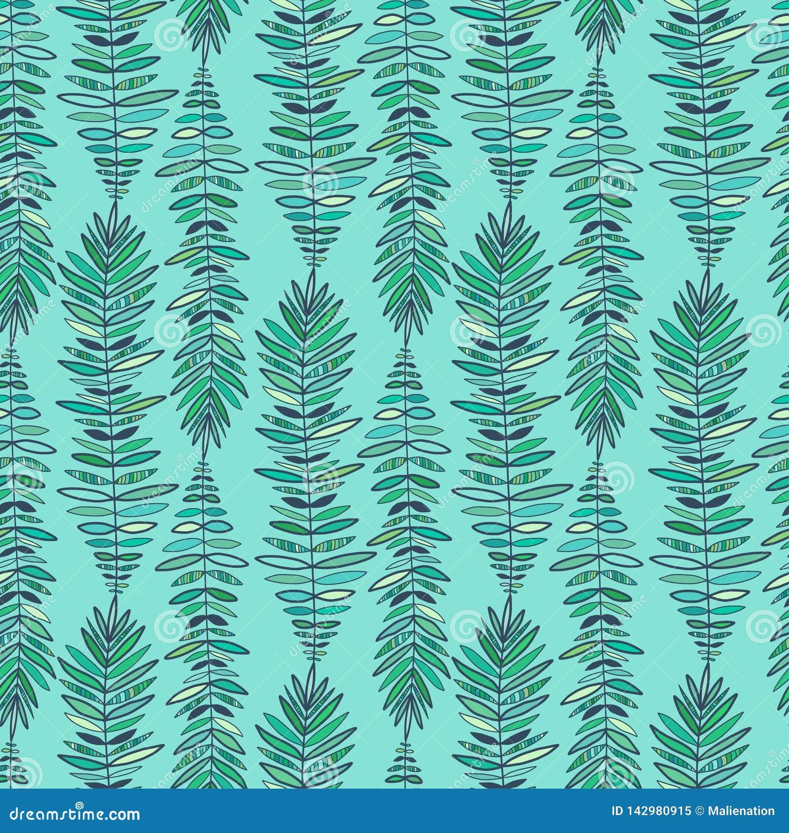 Fashion Seamless Pattern Modern Turquoise Background Feathers