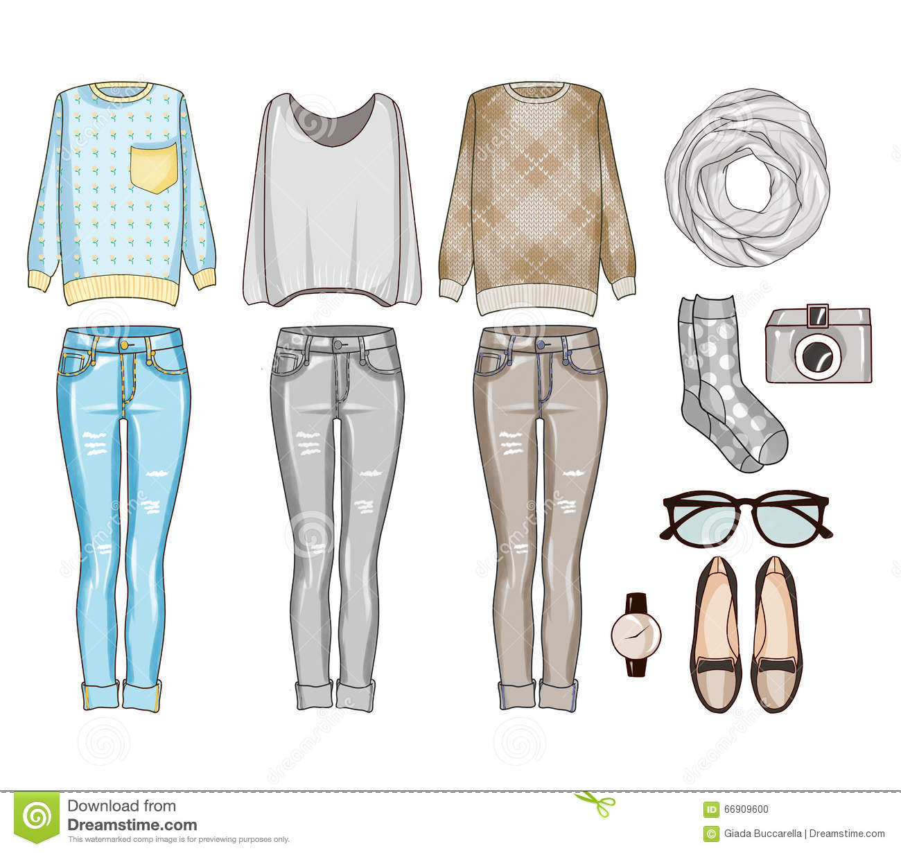 Fashion set of woman s clothes, accessories, and shoes . Casual outfits clip art