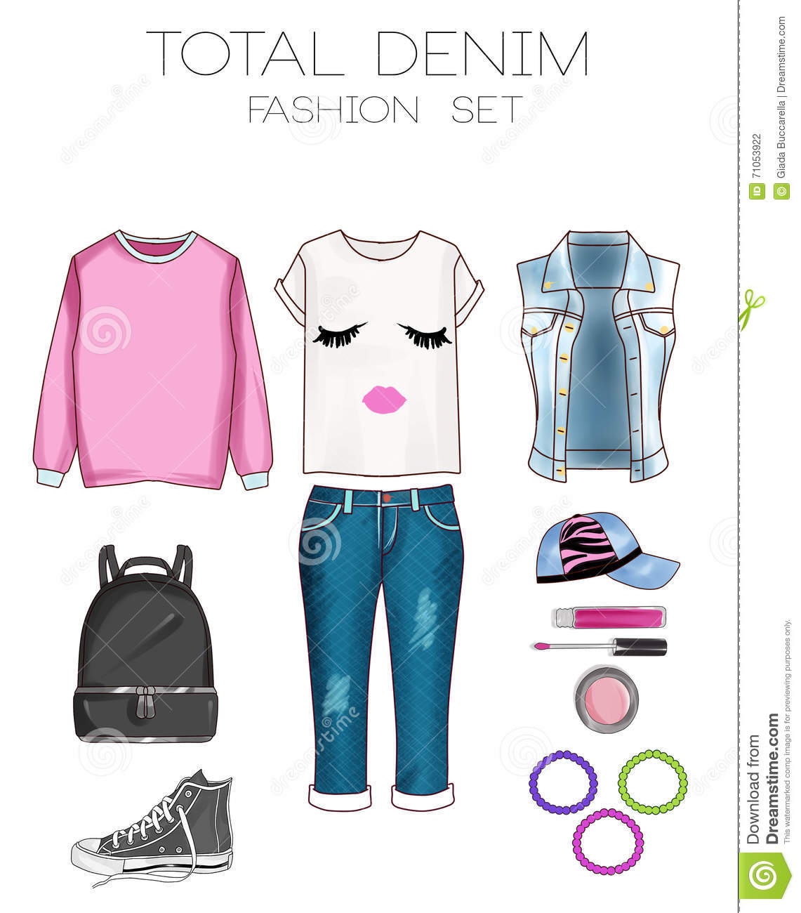 53ec8fcc43e0 Fashion set of woman s clothes, accessories, and shoes clip art collection