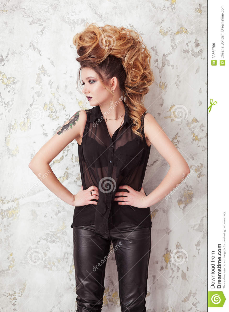 Fashion Shiny Makeup Beauty Woman With Mohawk Hairstyle Blonde