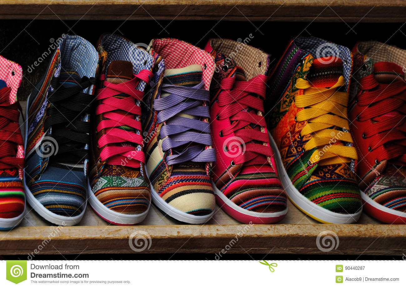 Fashion shoes at the clothing market