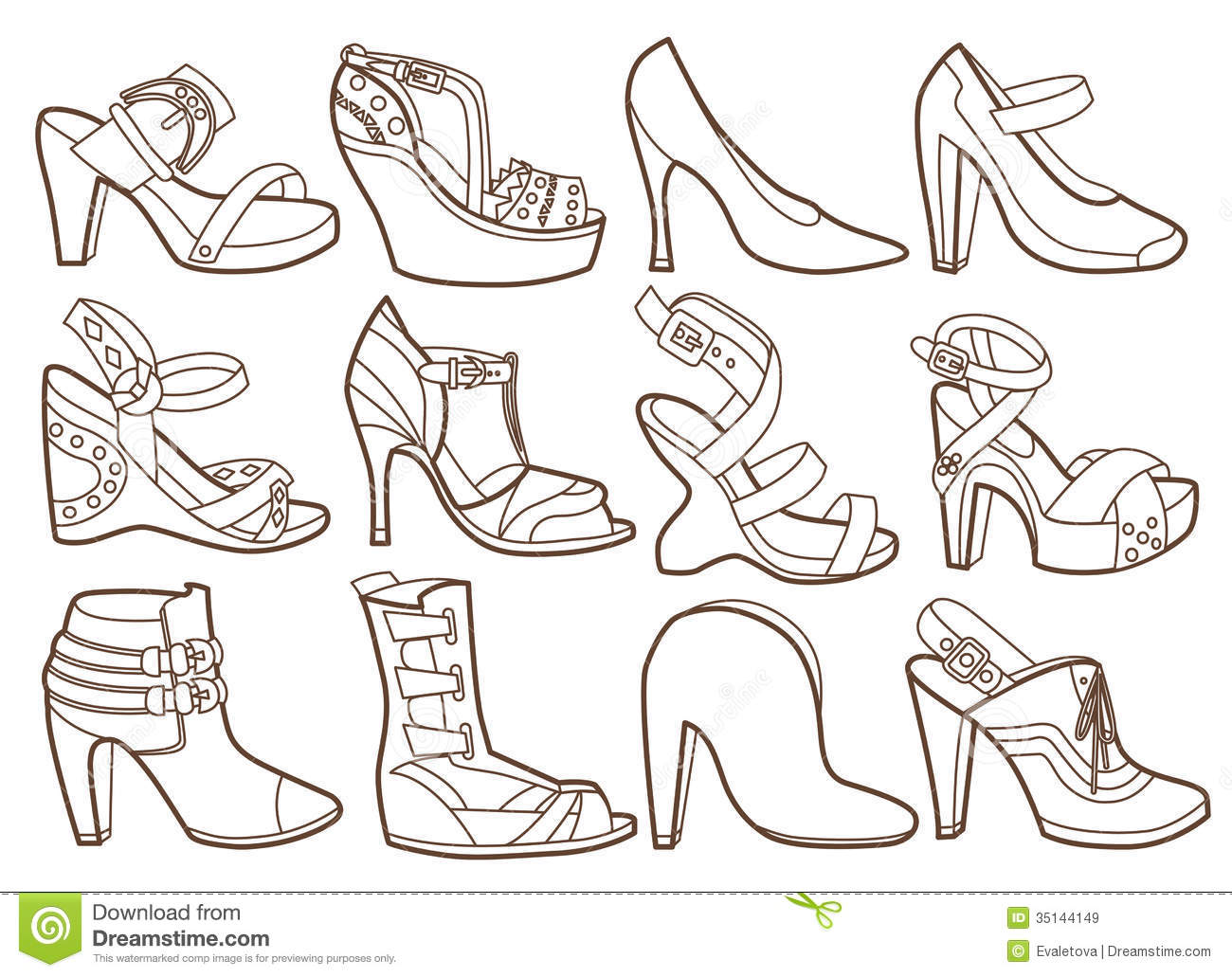 Fashion shoes collection stock vector. Illustration of ...