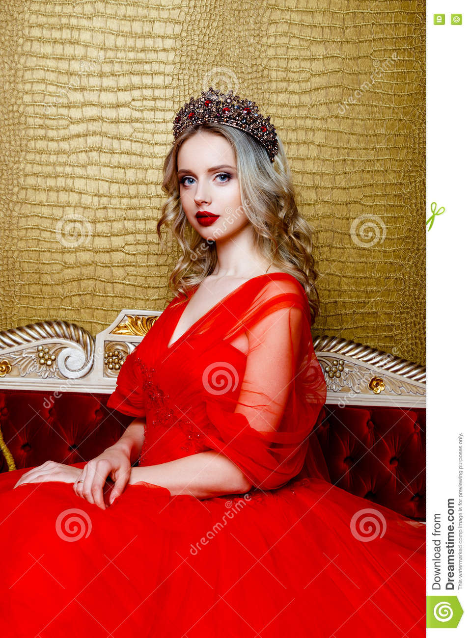 Beautiful Blond Girl In Red Dress With Eyeglasses Stock