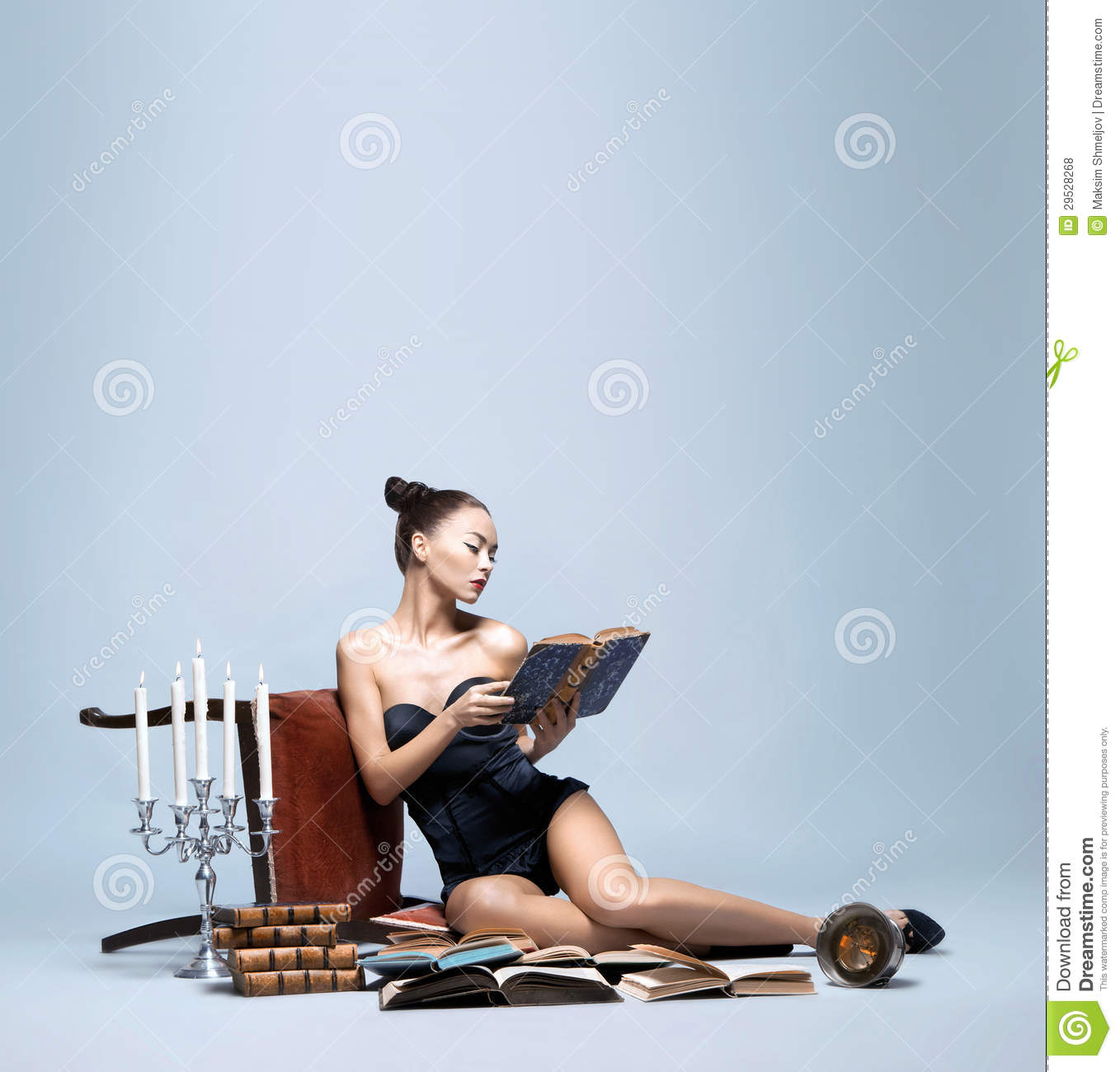 Fashion Shoot Of A Young Woman Reading Books Royalty Free Stock Photos Image 29528268
