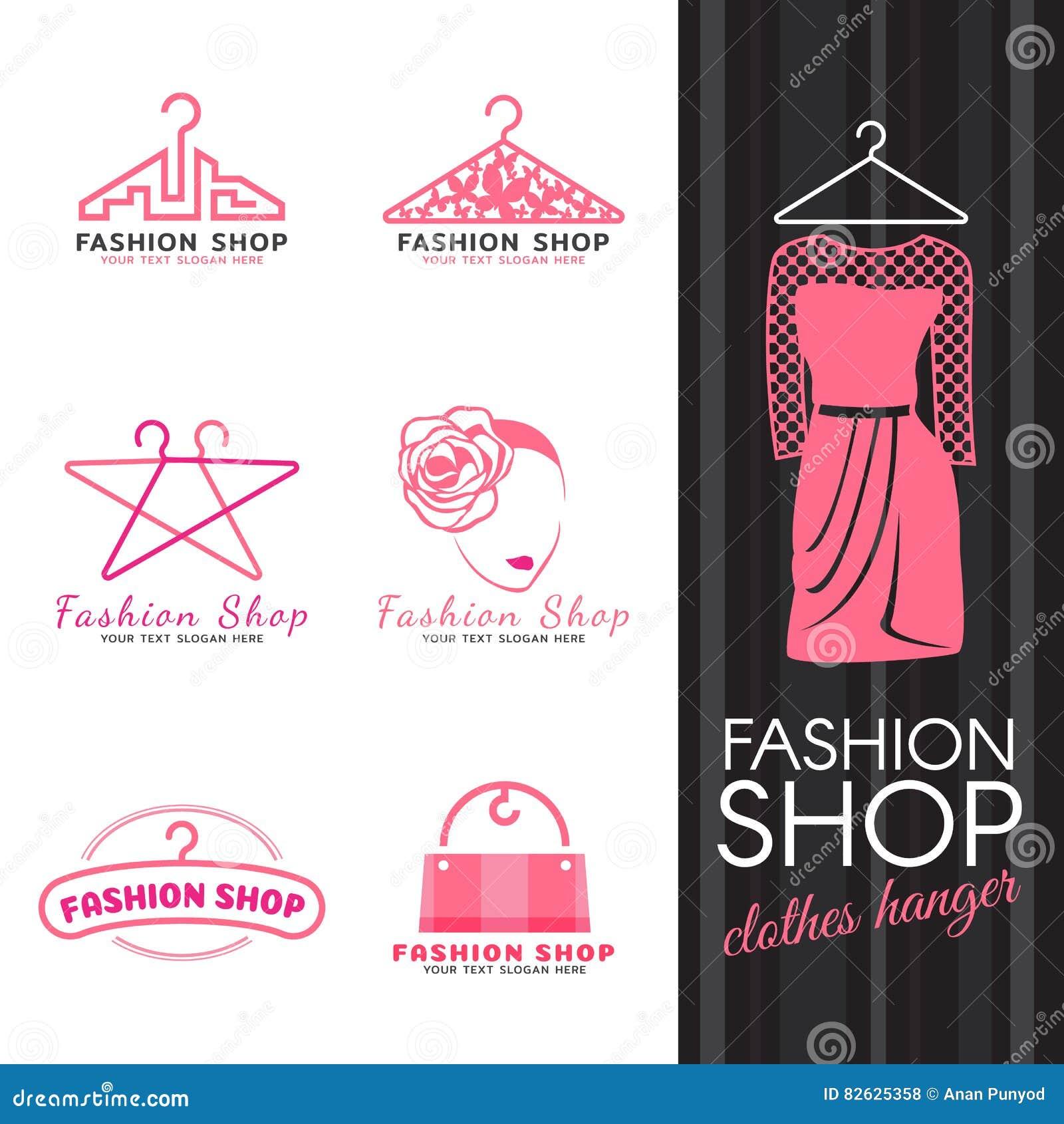 Fashion shop logo - pink clothes hanger and woman face logo vector set design