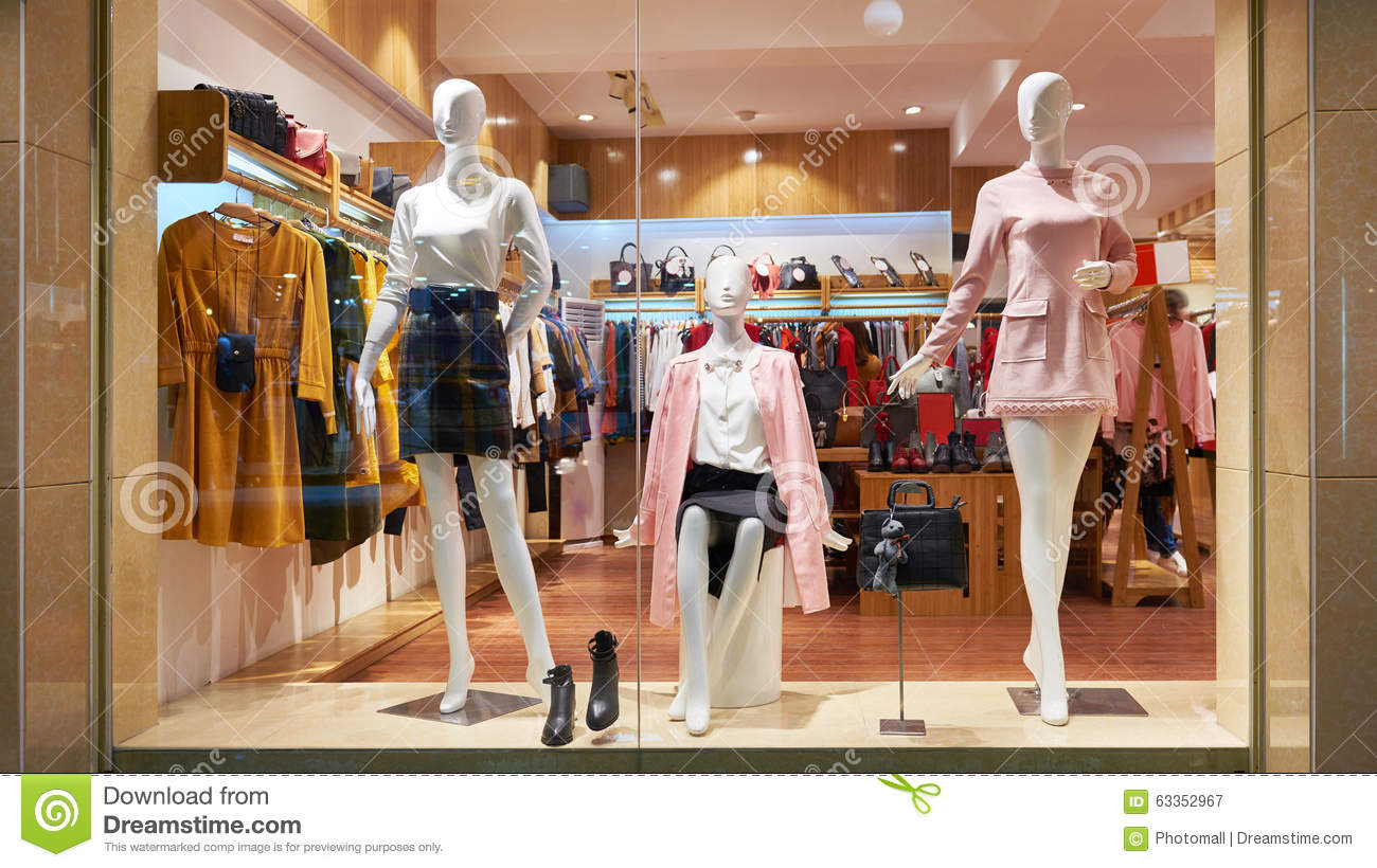 Fashion Shop Window Clothing Store Front Stock Photo - Image: 63352967