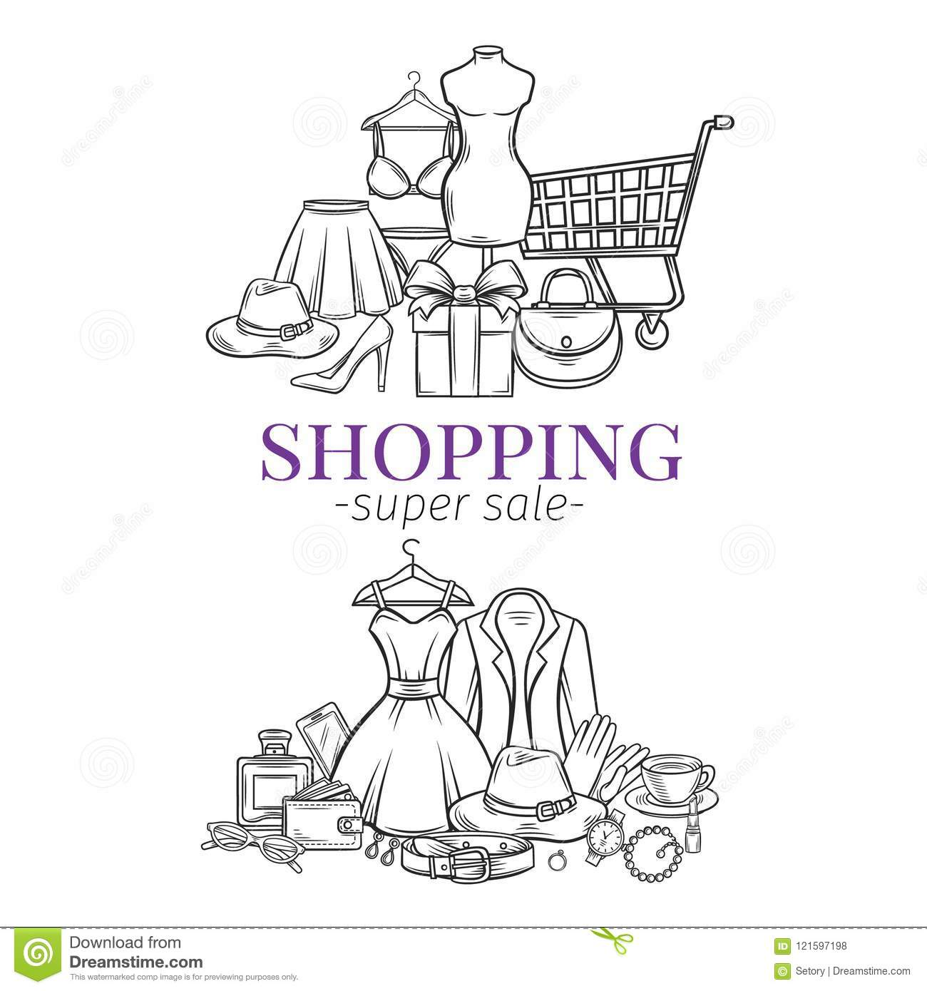 Fashion shopping banners stock illustration. Illustration of card ...