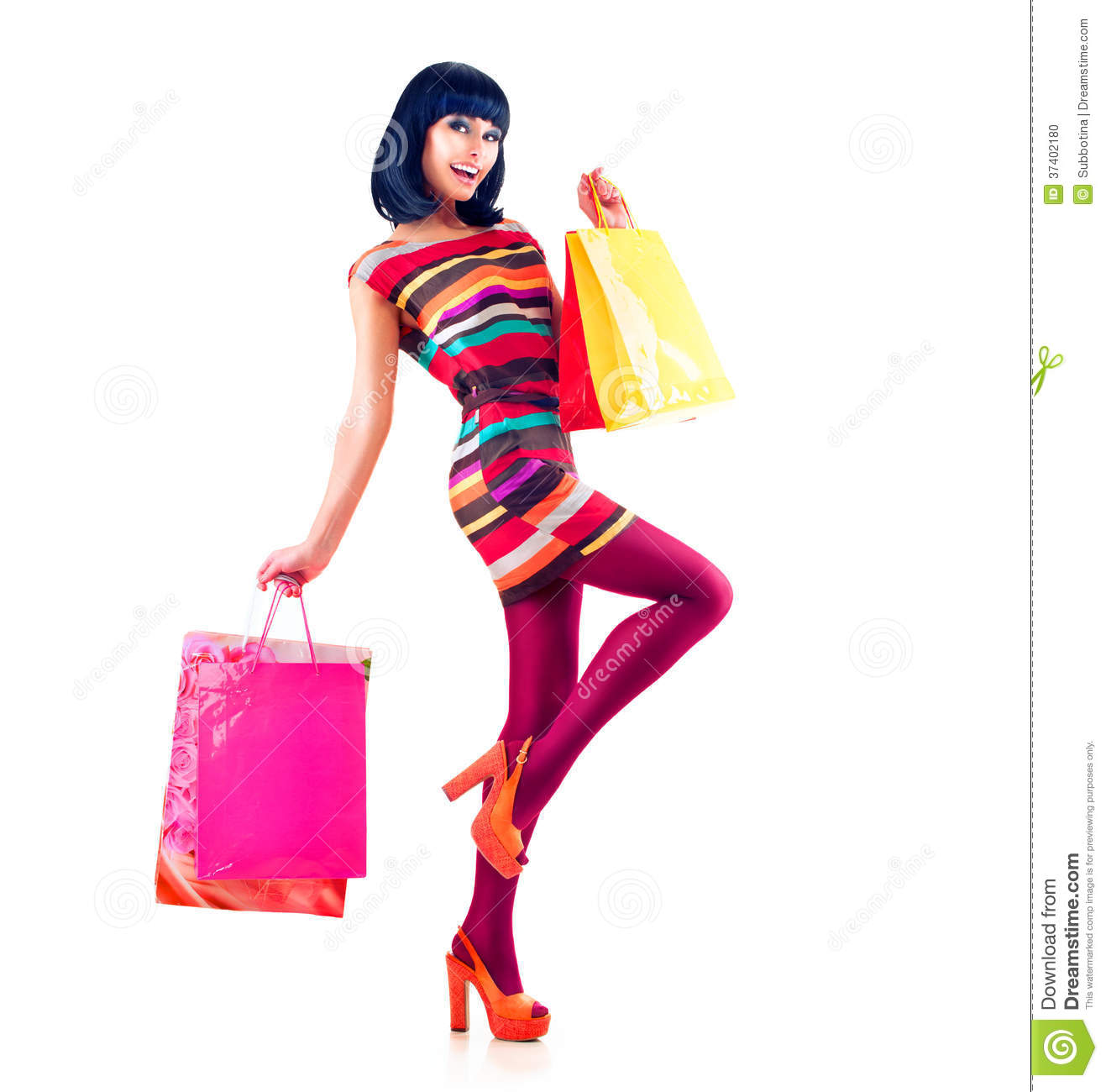 fashion shopping girl stock photo image of black bright