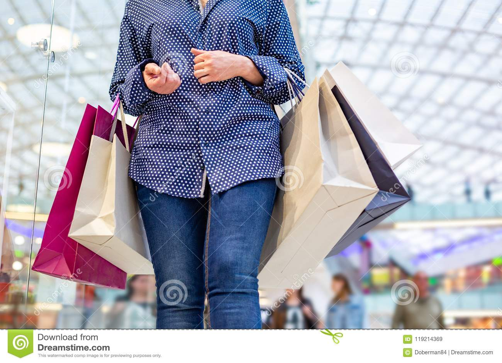 Fashion Shopping Girl Portrait. Beauty Woman With Shopping