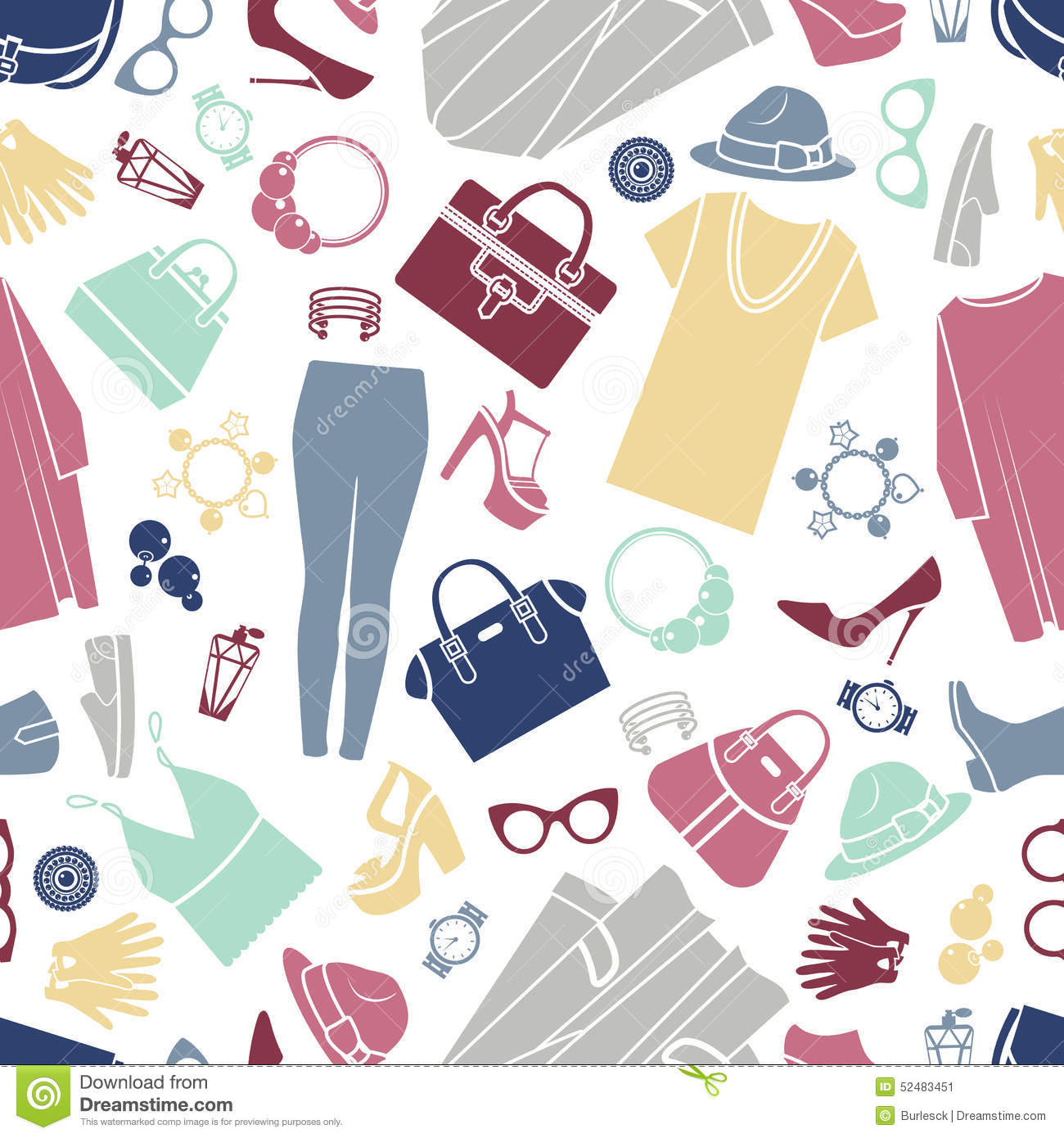 Fashion Shopping Icons Seamless Vector Background Stock