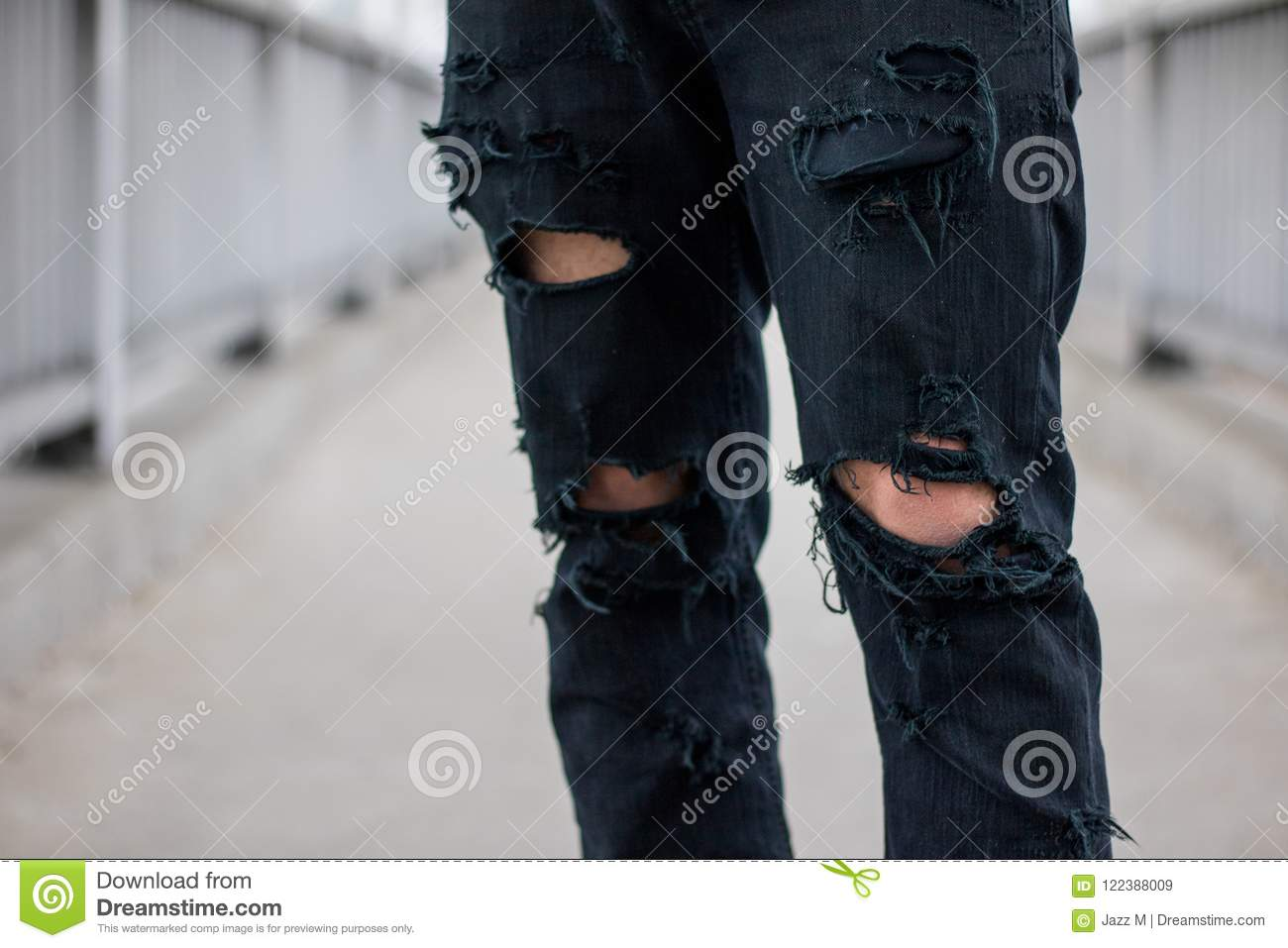 57637a586bc Lower Half Of Body, Man Wearing Ripped Black Jeans Stock Image ...
