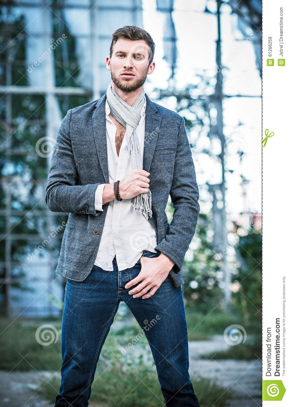 Fashion Shot: Portrait Of Handsome Young Man Wearing Jeans ...