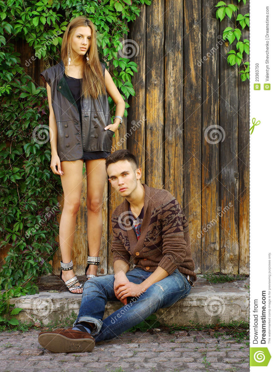 Fashion Shot Of A Trendy Boy And Girl Stock Photo Image
