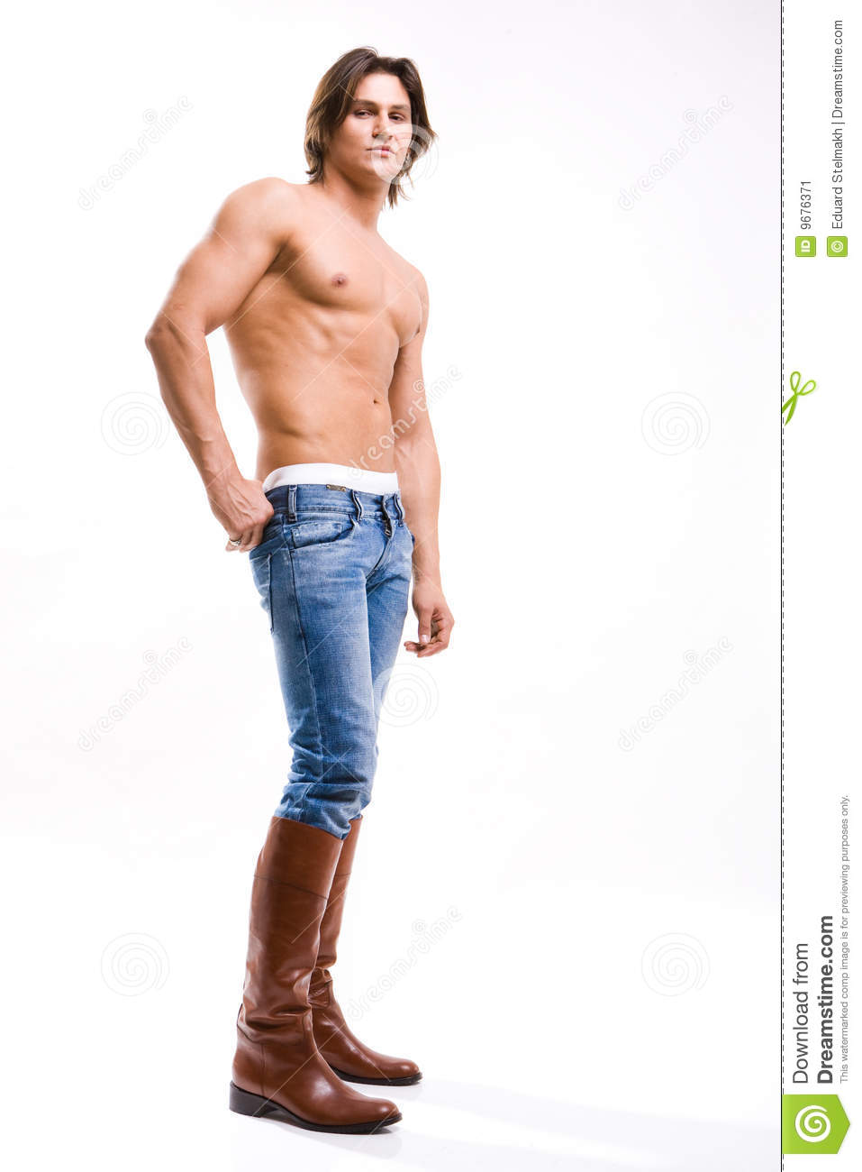 Shot Of A Young Man In Jeans And Boots Stock Image Image 9676371