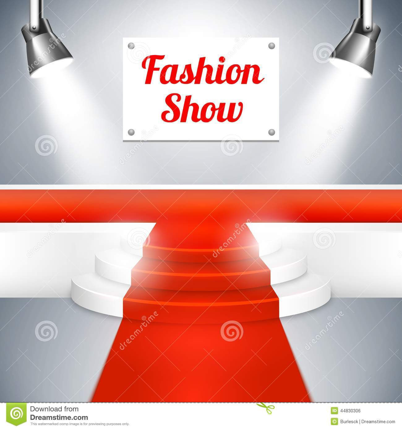 Empty Fashion Show catwalk with a sign red carpet raised platform at ...