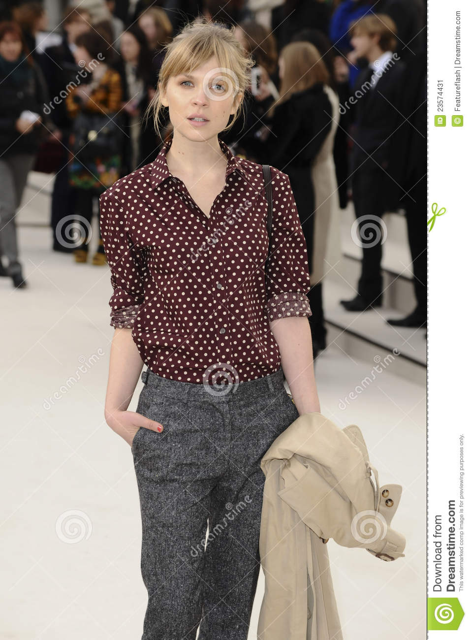 b327dd58d9c6 Clemence Poesy arriving for the Burberry Prorsum fashion show as part of London  Fashion Week 2012 A W in Kensington Gardens